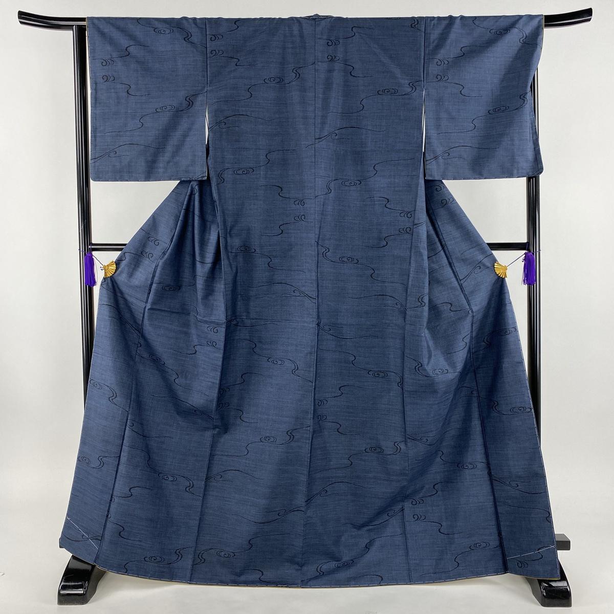 紬 美品 秀品 流水 藍色 袷 身丈169cm 裄丈66.5cm M 正絹 【中古】