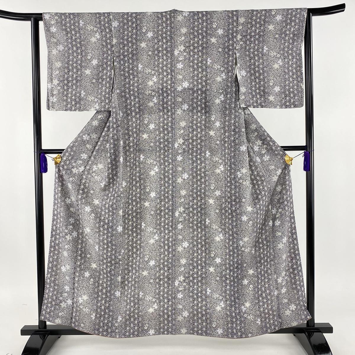 小紋 美品 秀品 麻の葉 桜 濃紫 袷 身丈159.5cm 裄丈63cm S 正絹 【中古】
