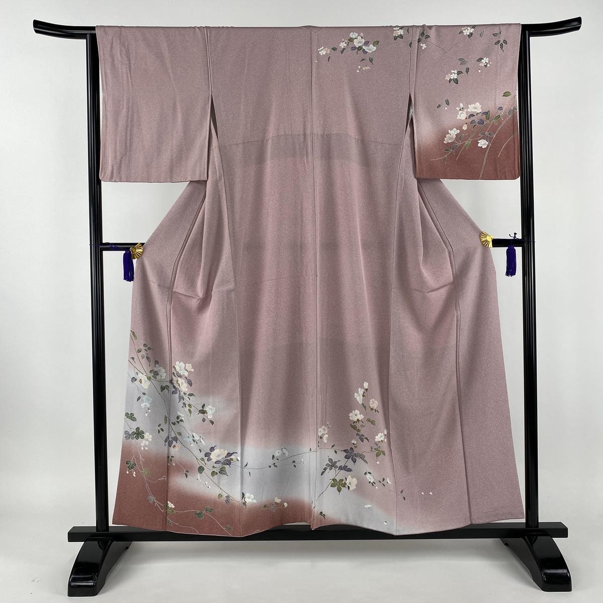 訪問着 美品 秀品 草花 ぼかし たたき染め風 薄紫 袷 身丈156cm 裄丈65cm M 正絹 【中古】