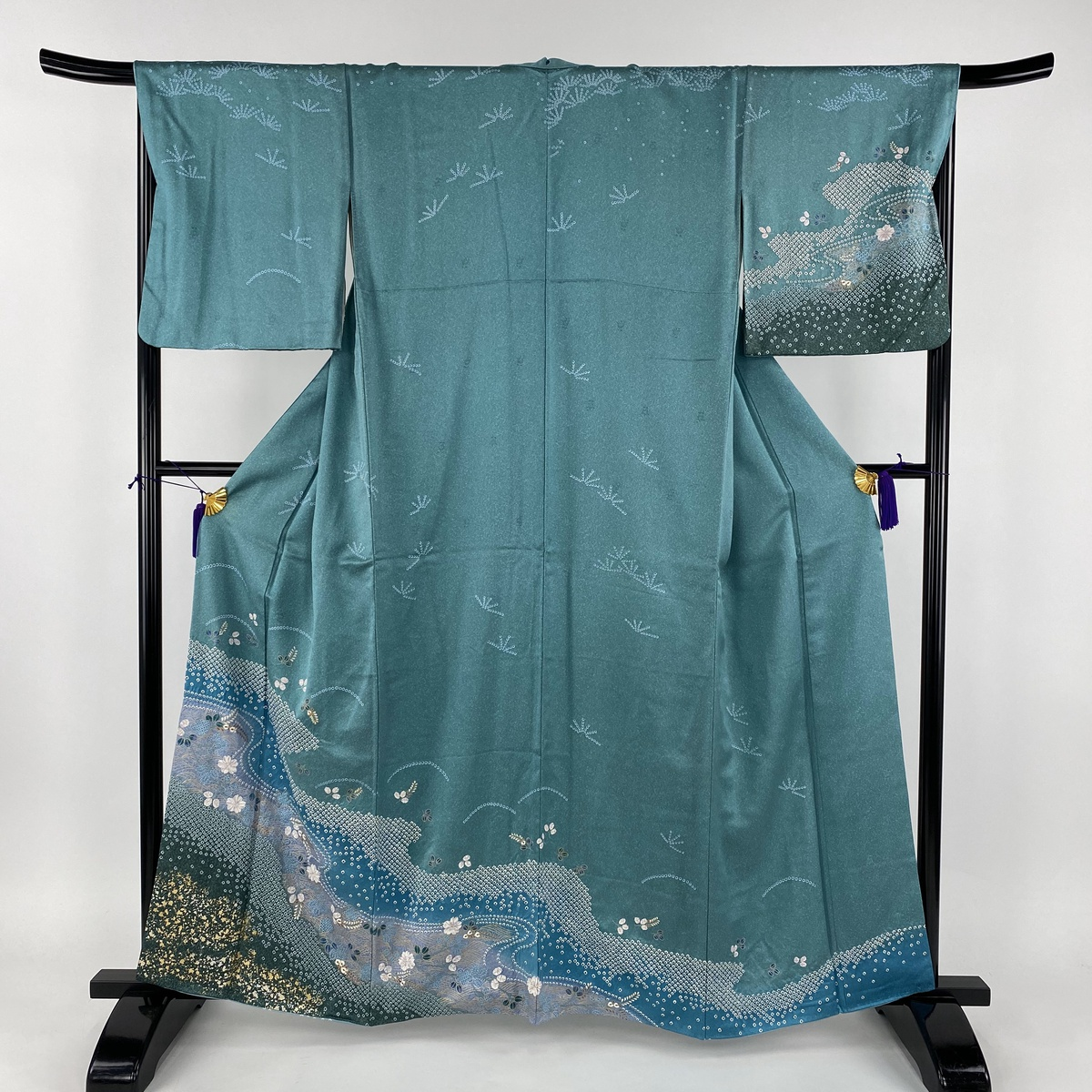 訪問着 秀品 流水 草花 部分絞り 金彩 青緑 袷 身丈159cm 裄丈67cm M 正絹 【中古】