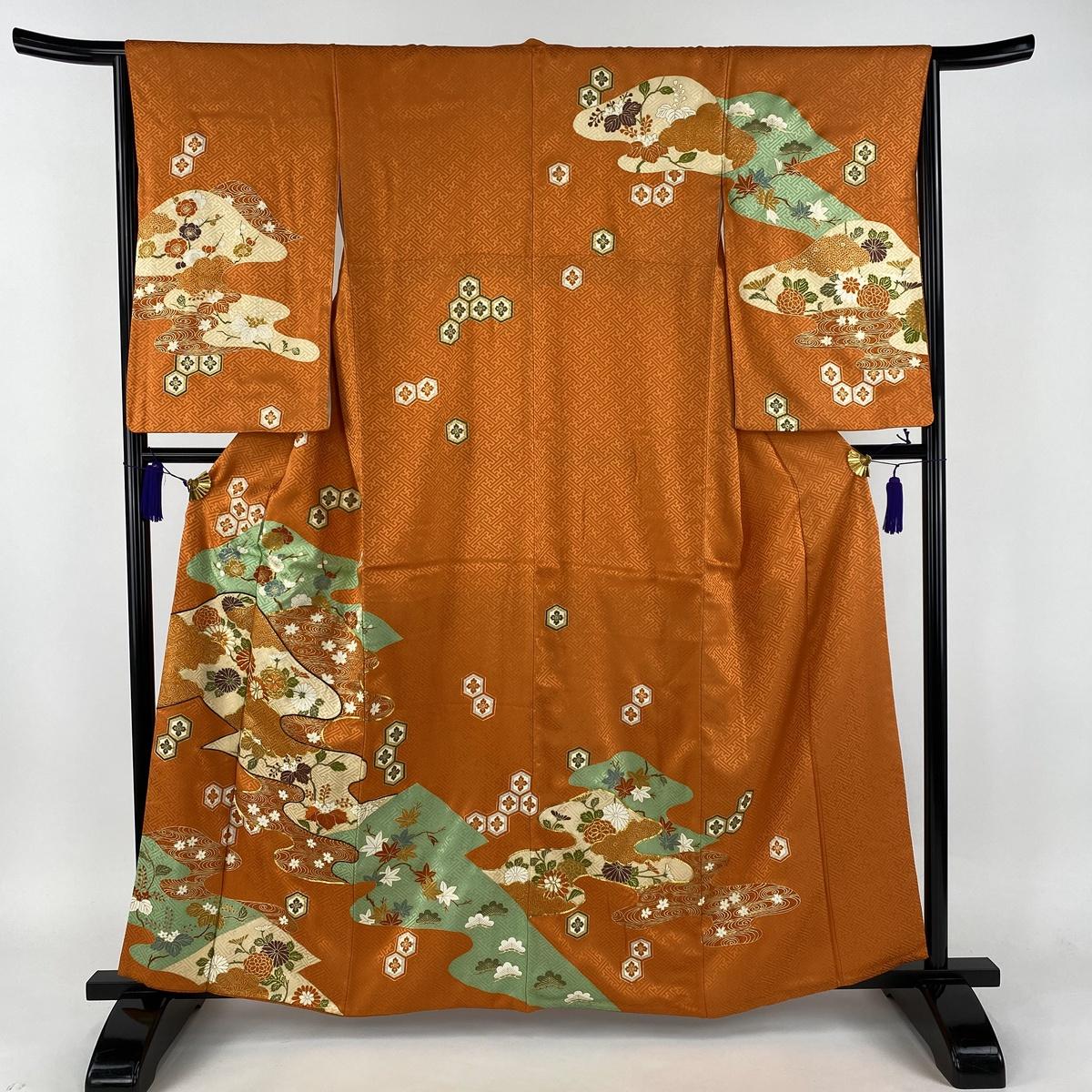 訪問着 秀品 菊 流水 金糸 金彩 オレンジ 袷 身丈160.5cm 裄丈65.5cm M 正絹 【中古】