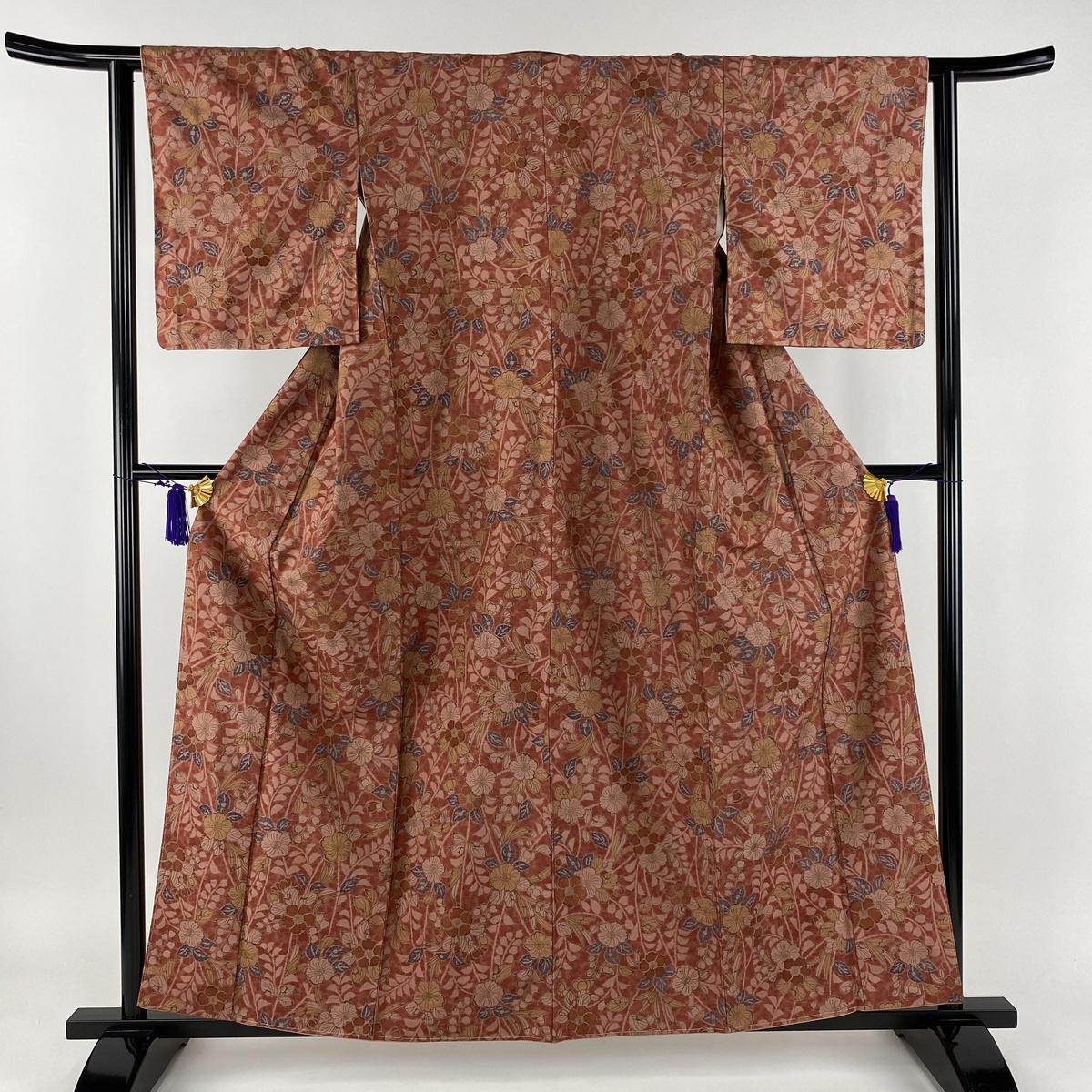 小紋 美品 秀品 紬地 辻が花柄 赤 袷 身丈160cm 裄丈62.5cm S 正絹 【中古】