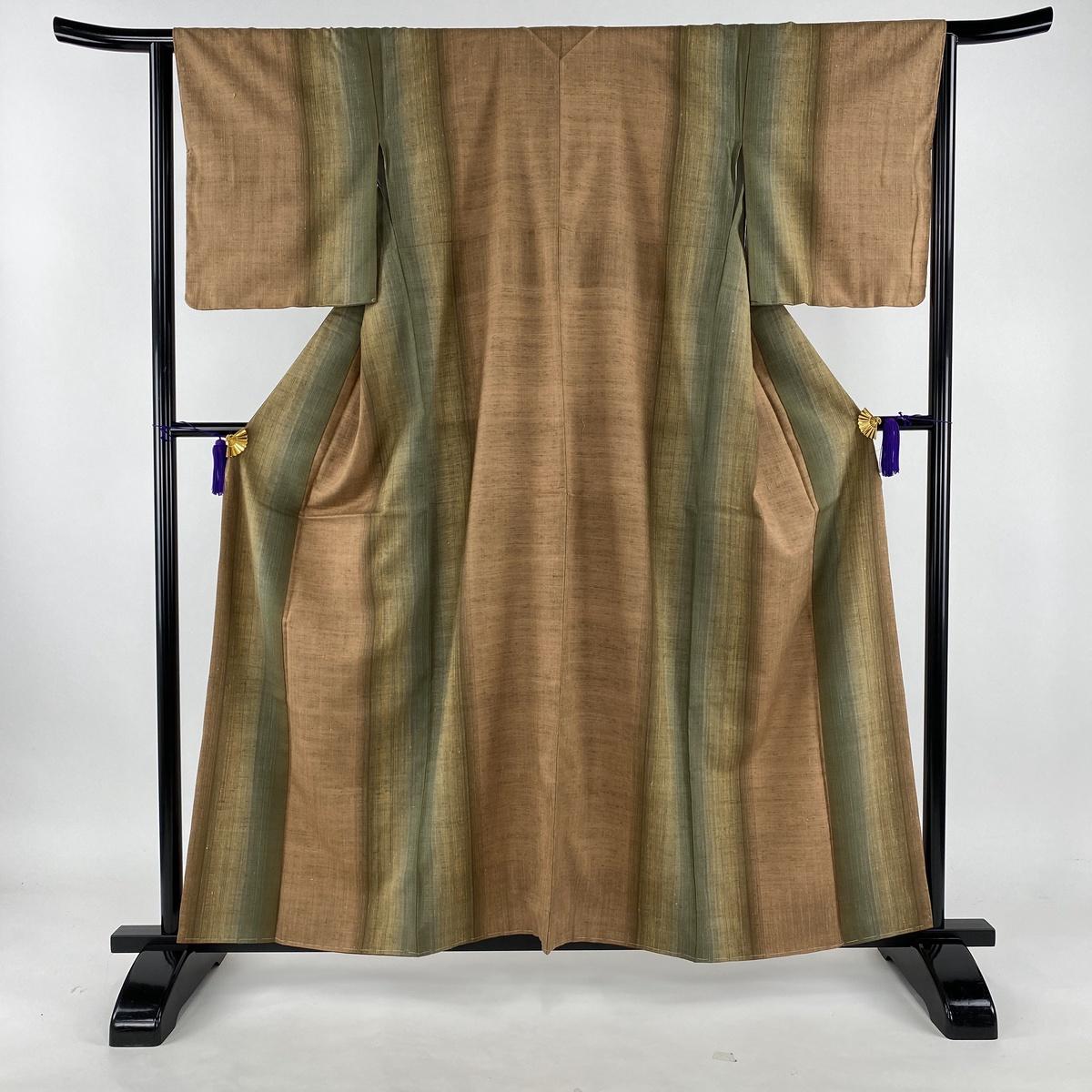 紬 美品 秀品 縦縞 茶緑色 袷 身丈159cm 裄丈64cm M 正絹 【中古】