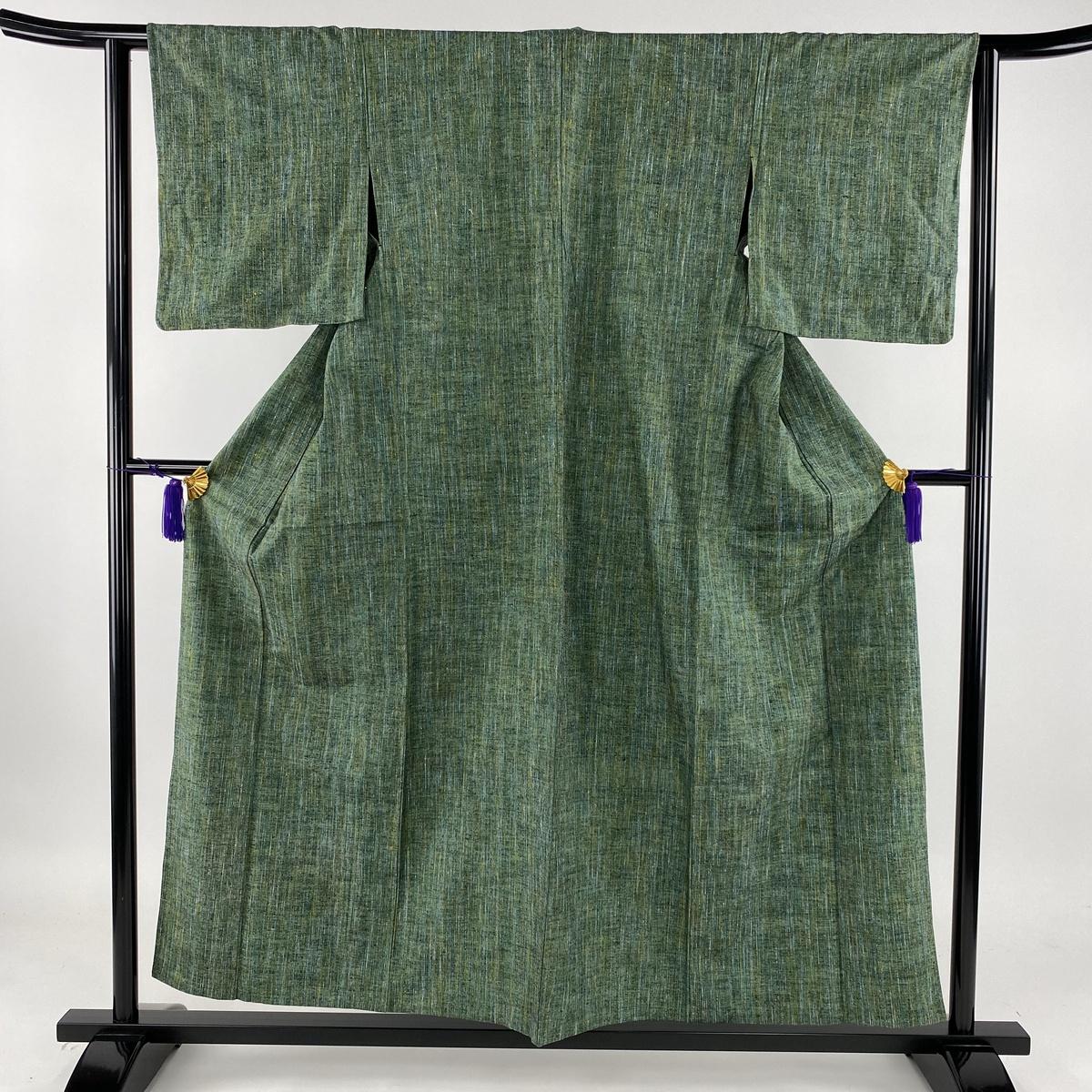 紬 美品 秀品 緑 単衣 身丈155cm 裄丈60cm S 正絹 【中古】