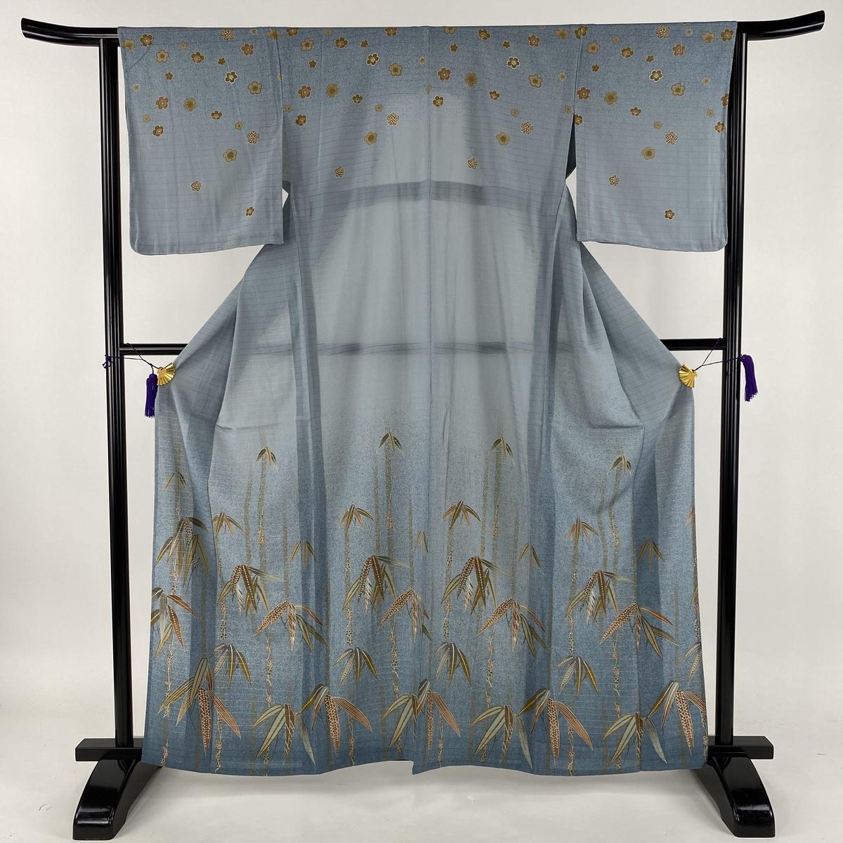 訪問着 美品 秀品 洗える着物 竹 草花 ぼかし 青灰色 単衣 身丈160.5cm 裄丈64cm M 化繊 【中古】