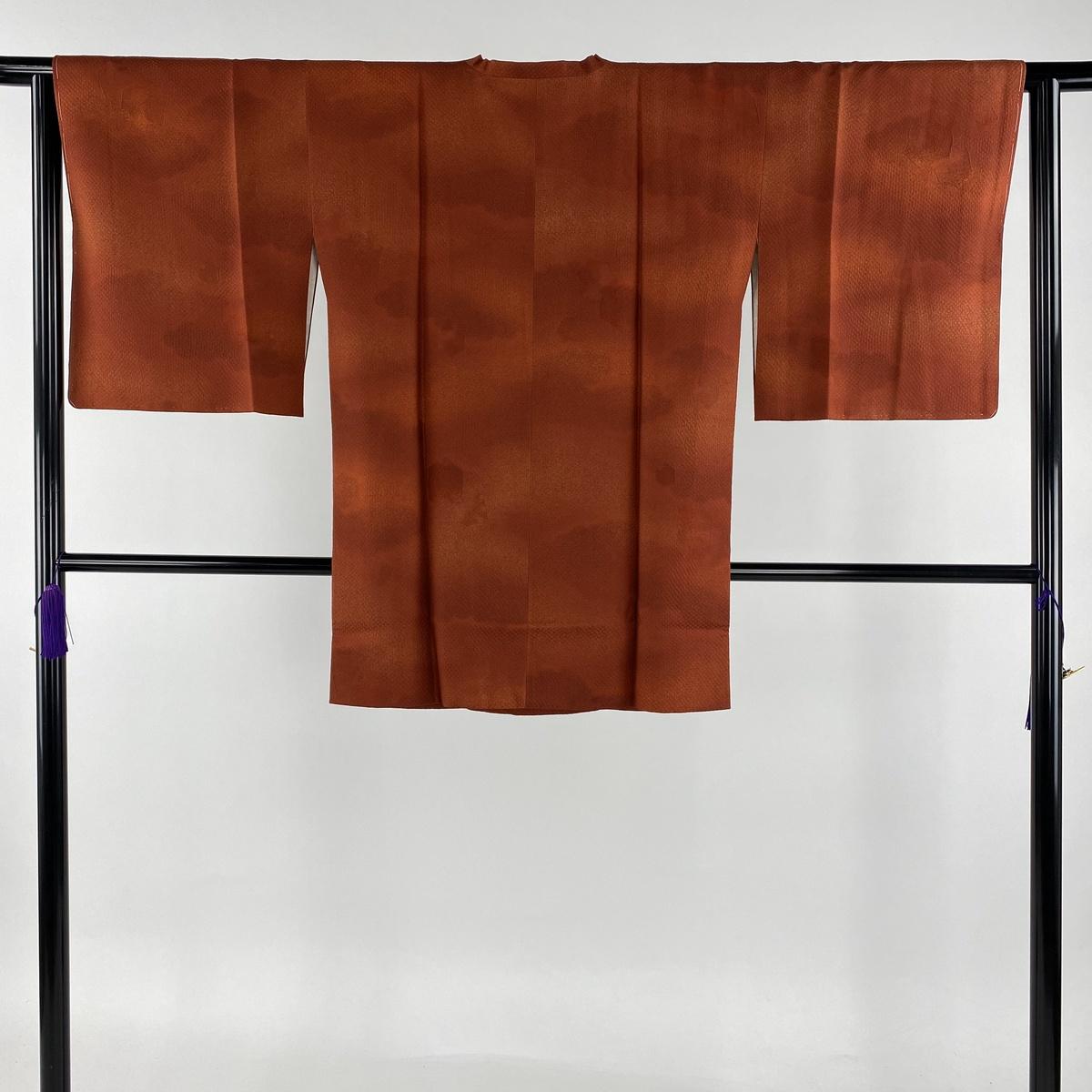 道行 美品 秀品 和装コート 草木染 地紋 ぼかし 赤茶 身丈85cm 裄丈63.5cm S 正絹 【中古】
