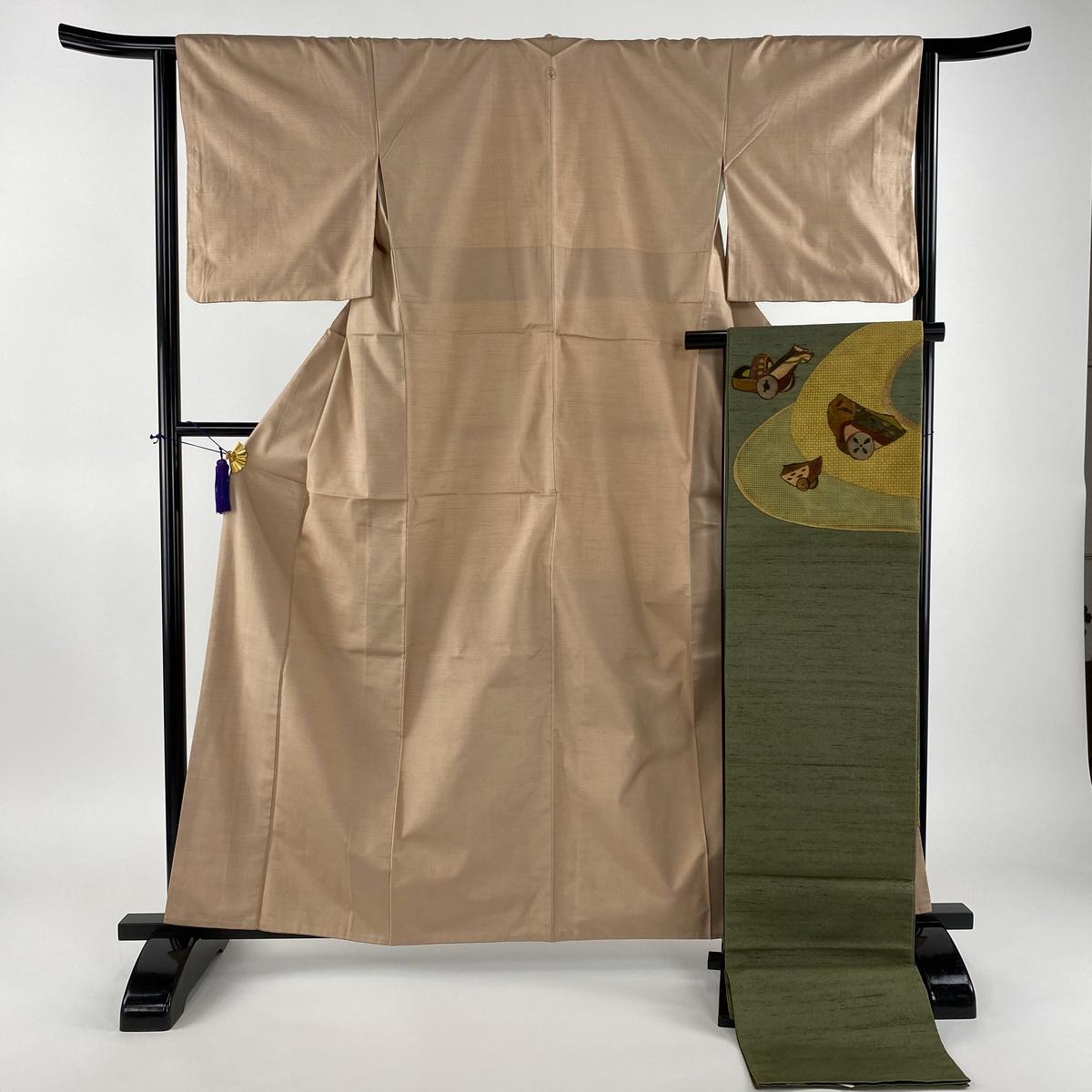 紬 美品 秀品 袋帯セット 一つ紋 無地 ピンク 袷 身丈160cm 裄丈64cm M 正絹 【中古】