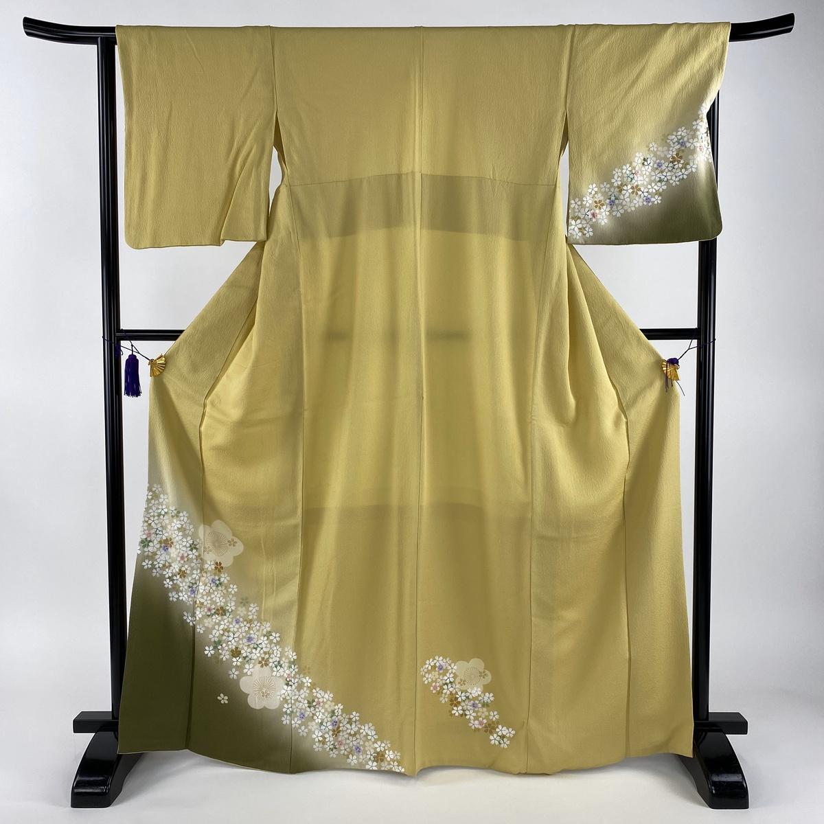 付下げ 美品 名品 桜 梅 金糸 金彩 黄色 袷 身丈167cm 裄丈66cm M 正絹 【中古】