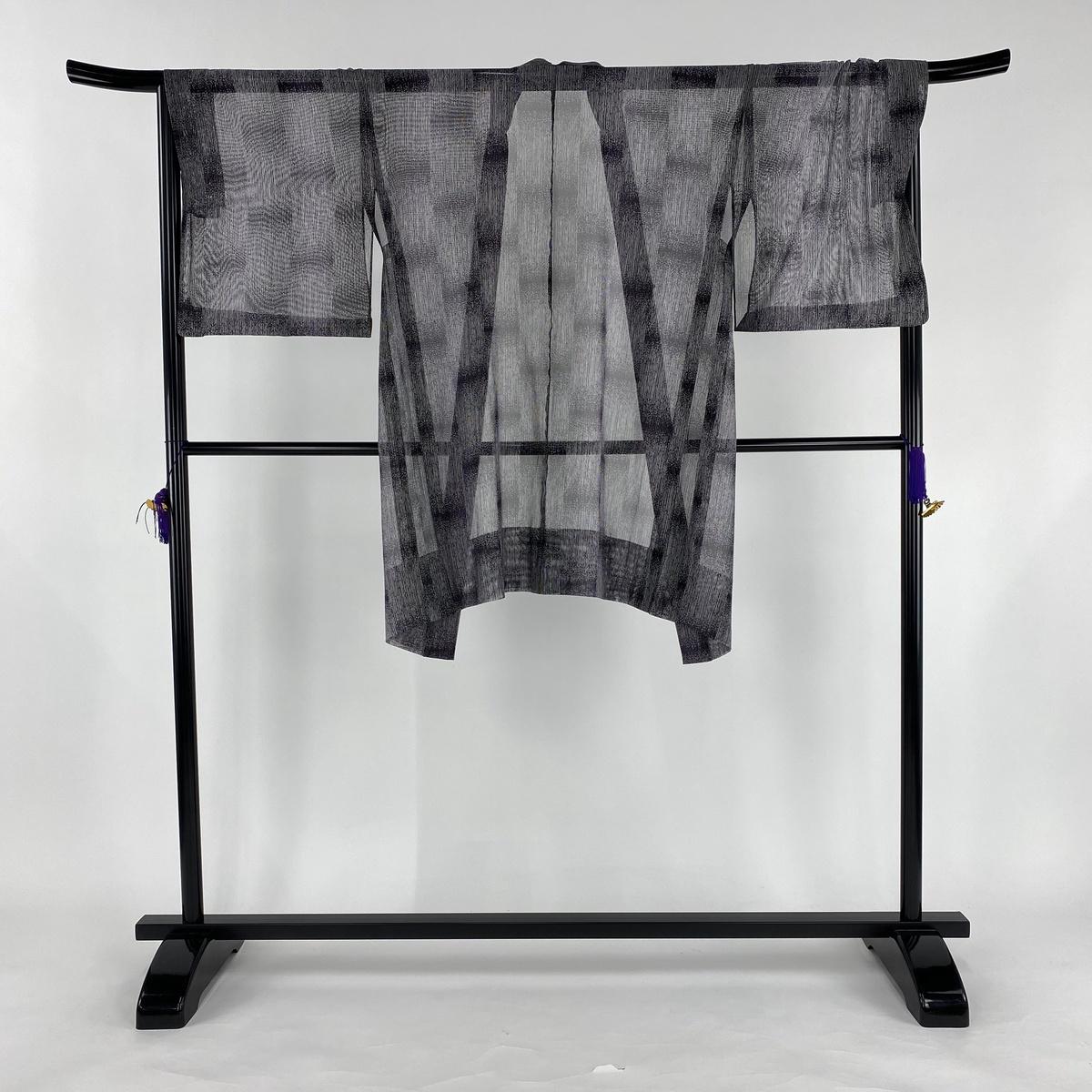 羽織 美品 逸品 幾何学模様 縞模様 濃紫 身丈99cm 裄丈68cm M 正絹 【中古】