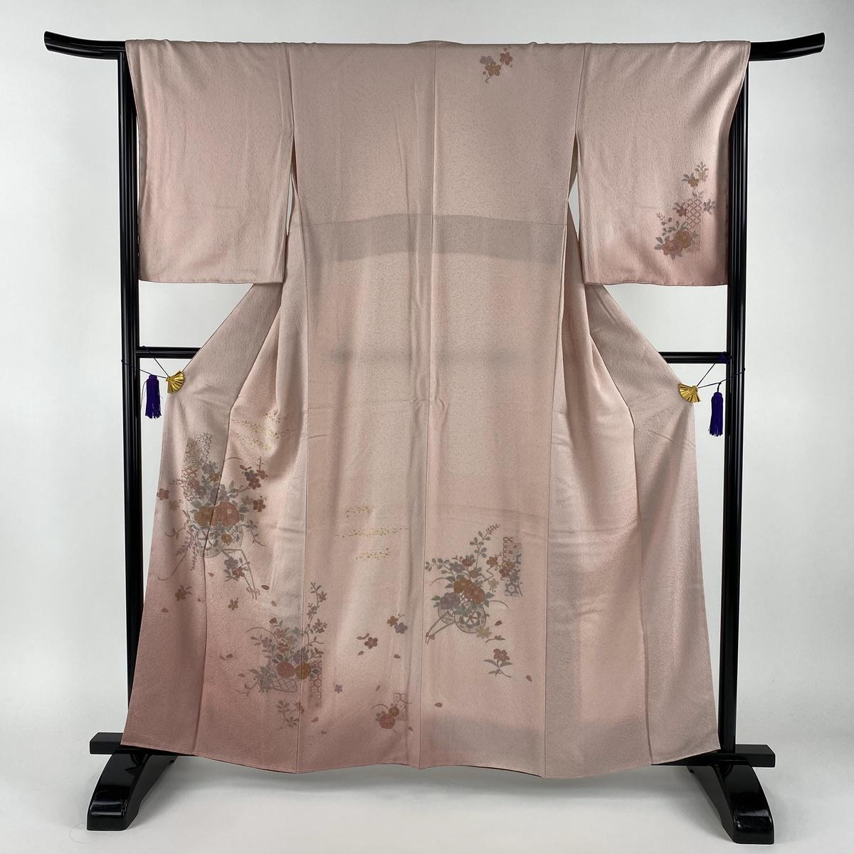 訪問着 美品 秀品 花車 花籠 金彩 刺繍 ピンク 袷 身丈160.5cm 裄丈66cm M 正絹 【中古】