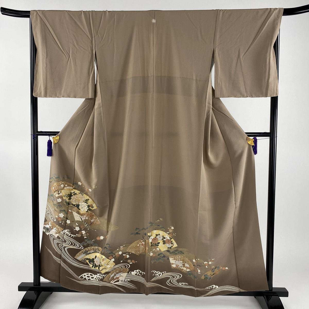 色留袖 美品 秀品 一つ紋 扇面 草花 金彩 金糸 薄茶色 袷 身丈159cm 裄丈68cm L 正絹 【中古】