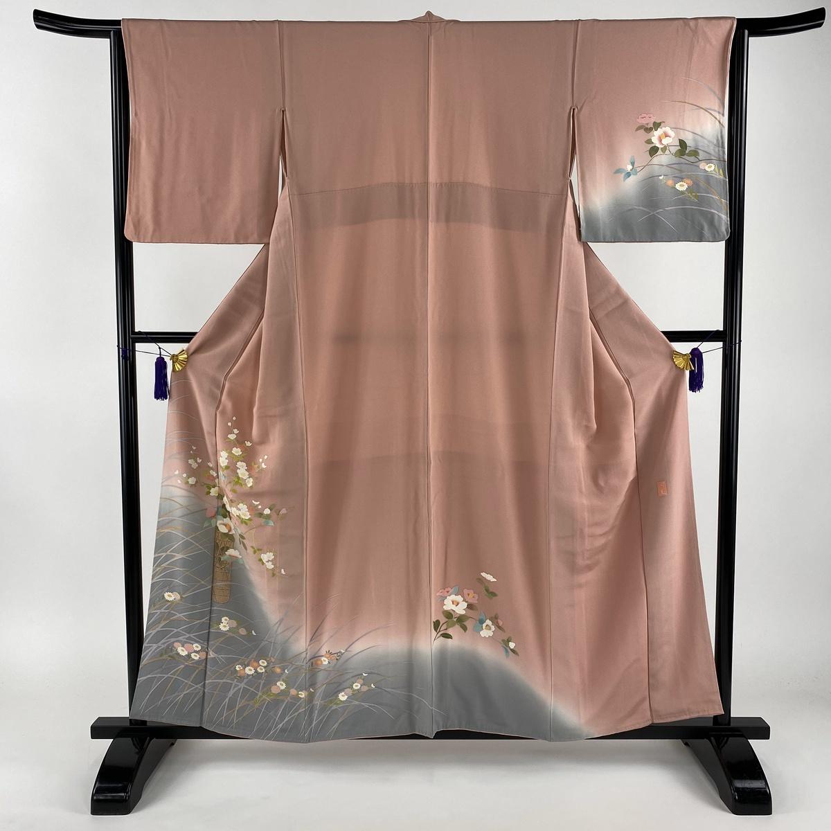 訪問着 美品 秀品 落款あり 花籠 芝 染分け ピンク 袷 身丈157cm 裄丈63cm S 正絹 【中古】