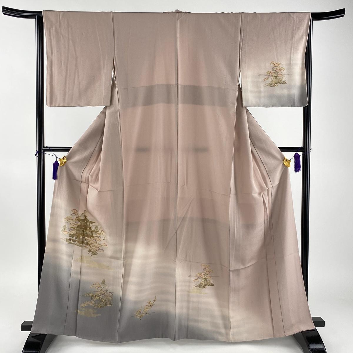 訪問着 美品 秀品 金閣寺 松 金糸 ぼかし 薄紫 袷 身丈164cm 裄丈64cm M 正絹 【中古】