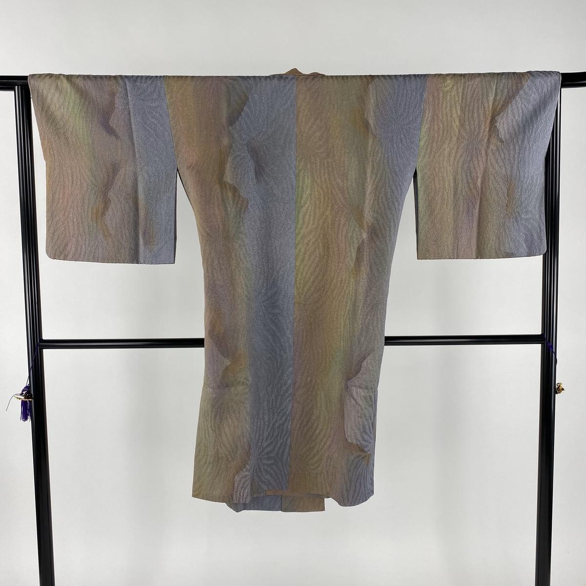 道中着 美品 名品 和装コート 幾何学 ぼかし 茶緑色 身丈108cm 裄丈65cm M 正絹 【中古】
