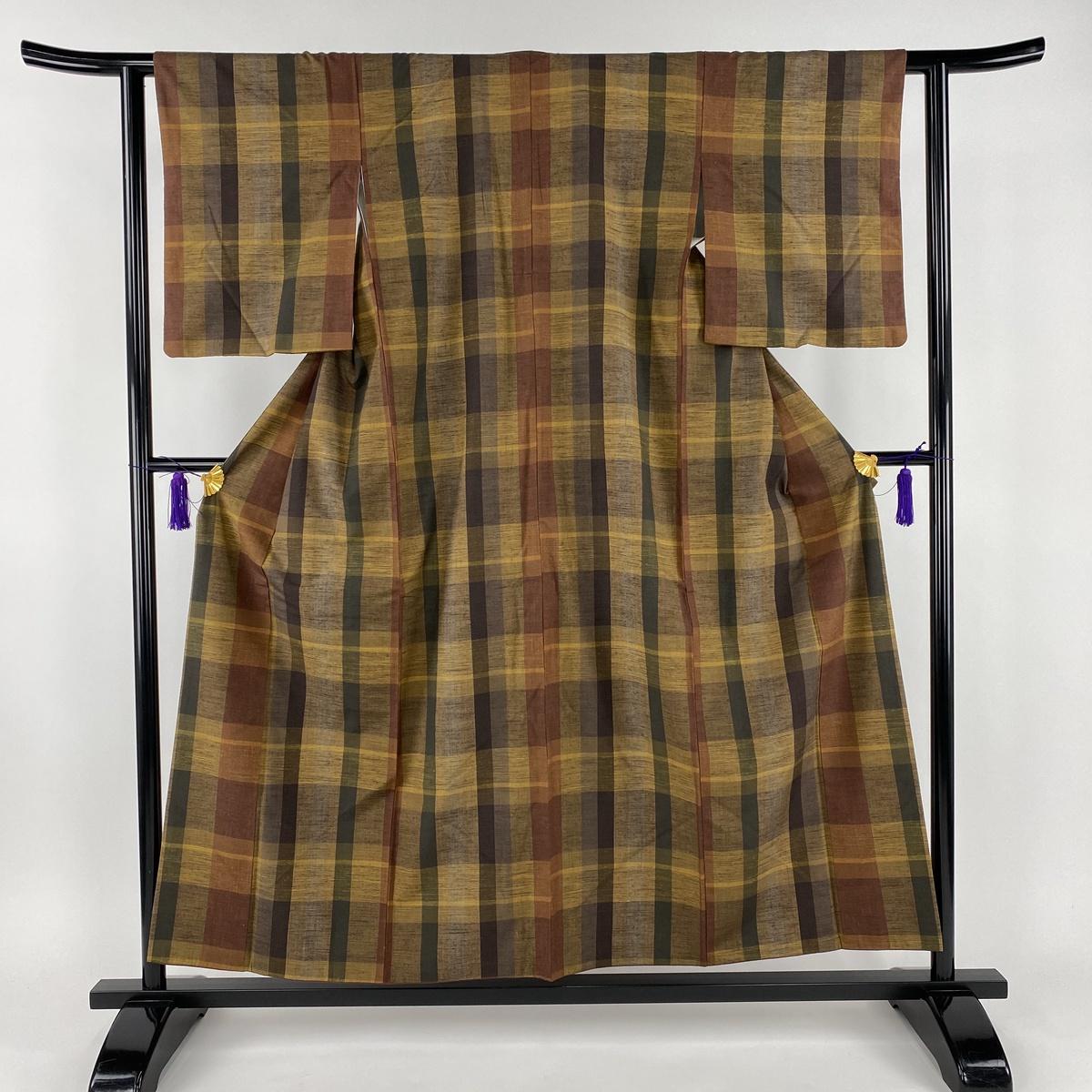 紬 美品 秀品 縞模様 茶緑色 袷 身丈155cm 裄丈60.5cm S 正絹 【中古】