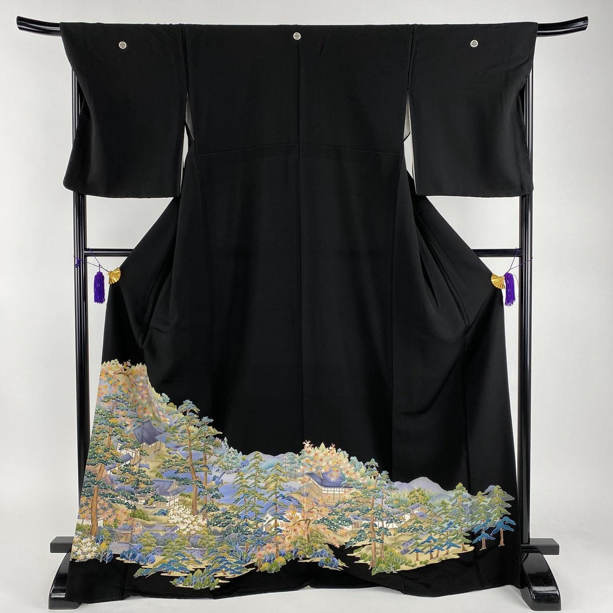 黒留袖 美品 秀品 水辺の風景 建物 黒 袷 身丈171cm 裄丈68cm L 正絹 【中古】