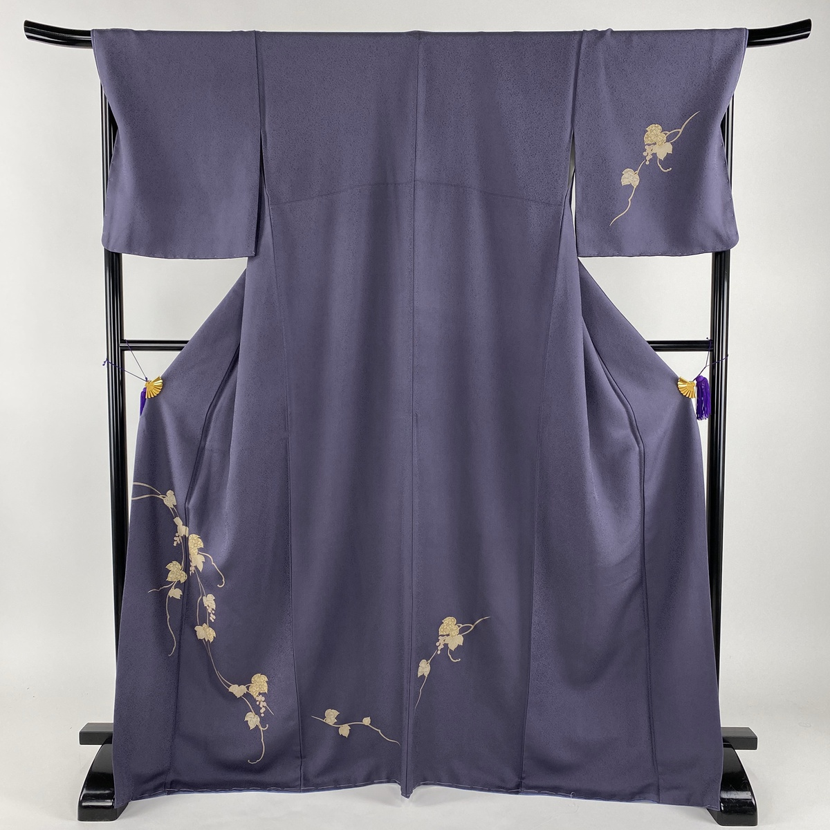 付下げ 美品 名品 葡萄 金彩 灰紫 袷 身丈170cm 裄丈68cm L 正絹 【中古】