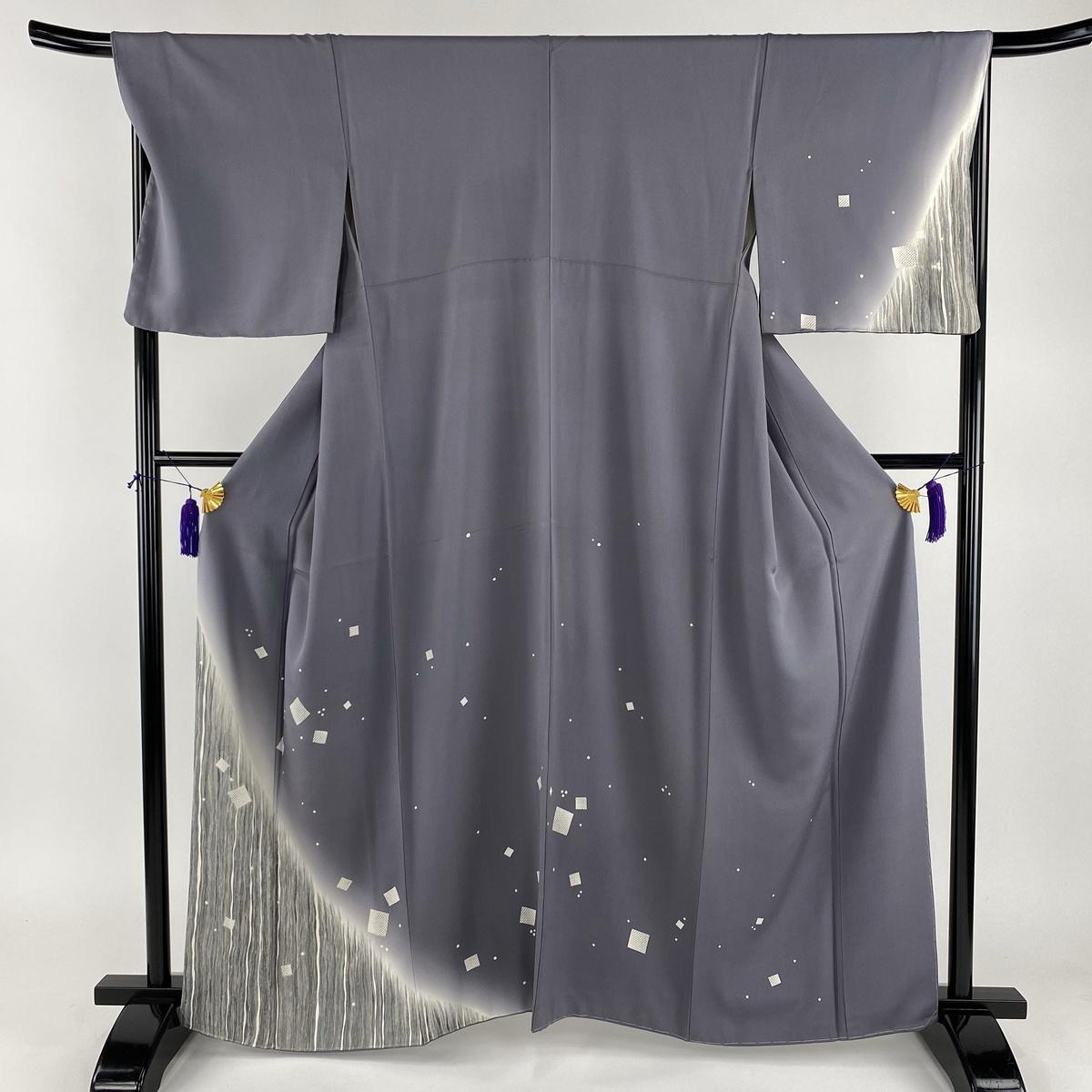 訪問着 名品 幾何学 よろけ縞 金糸 灰紫 袷 身丈162cm 裄丈68cm L 正絹 【中古】