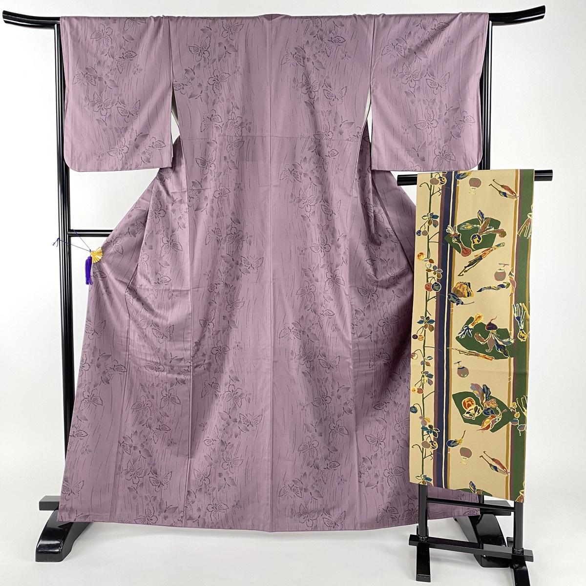 紬 美品 秀品 名古屋帯セット 蝶 紫 袷 身丈164.5cm 裄丈66cm M 正絹 【中古】