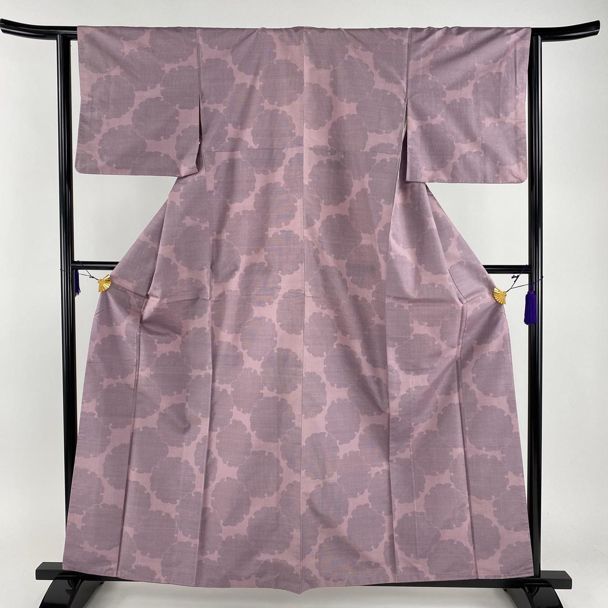 紬 美品 秀品 雪輪 薄紫 袷 身丈160cm 裄丈63cm S 正絹 【中古】