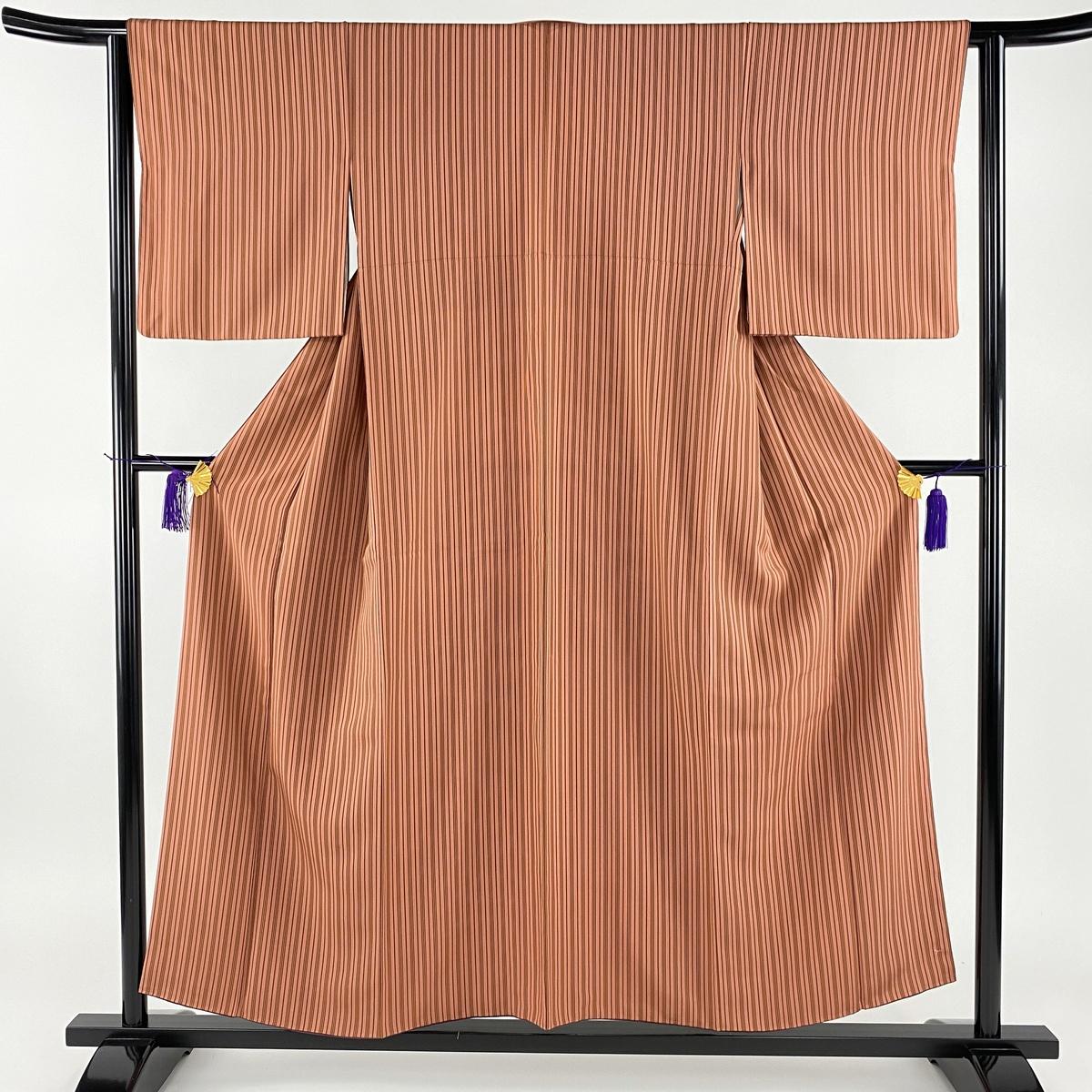 小紋 美品 秀品 縦縞 小豆色 袷 身丈155cm 裄丈63cm S 正絹 【中古】