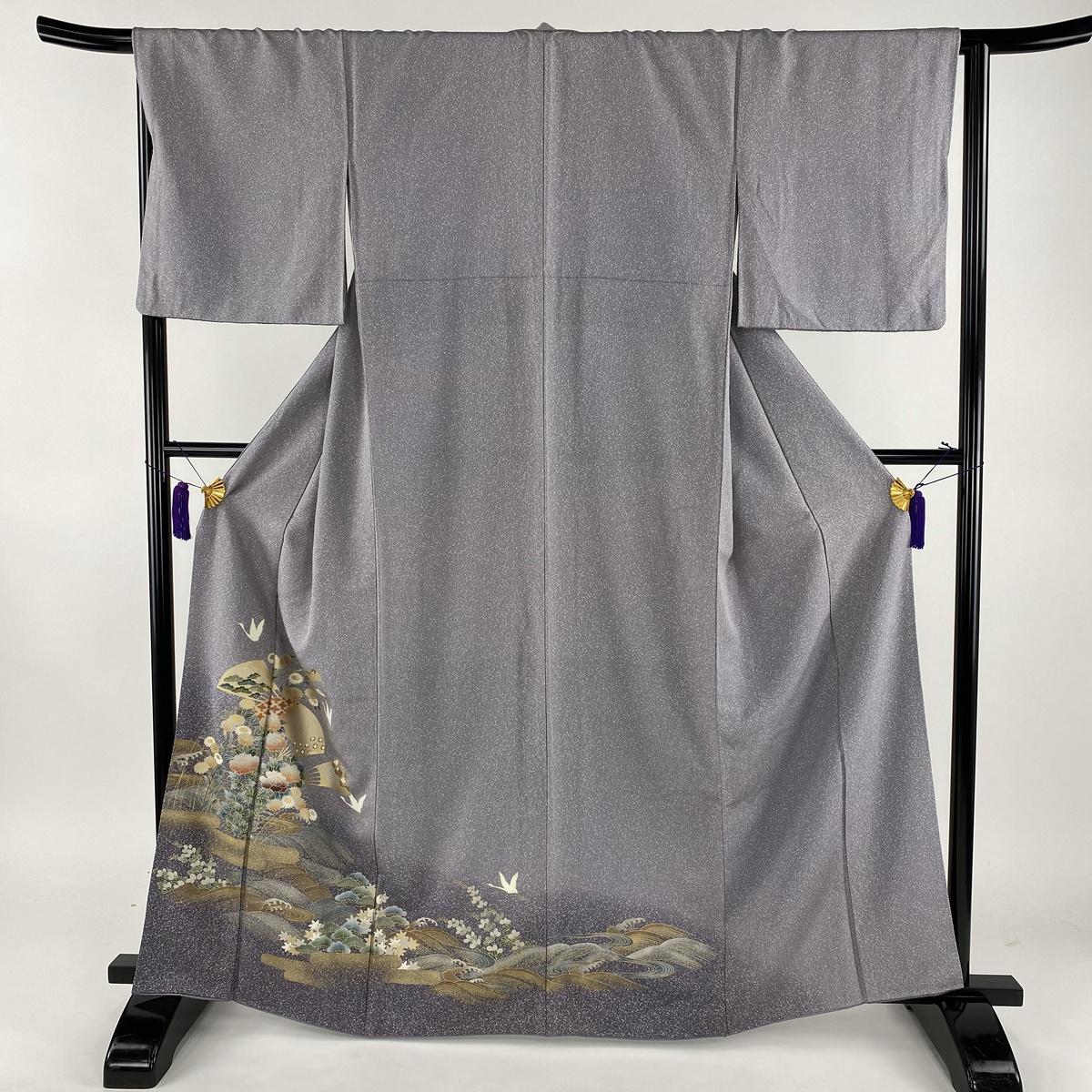 訪問着 美品 秀品 扇 草花 金彩 薄紫 袷 身丈163.5cm 裄丈66cm M 正絹 【中古】
