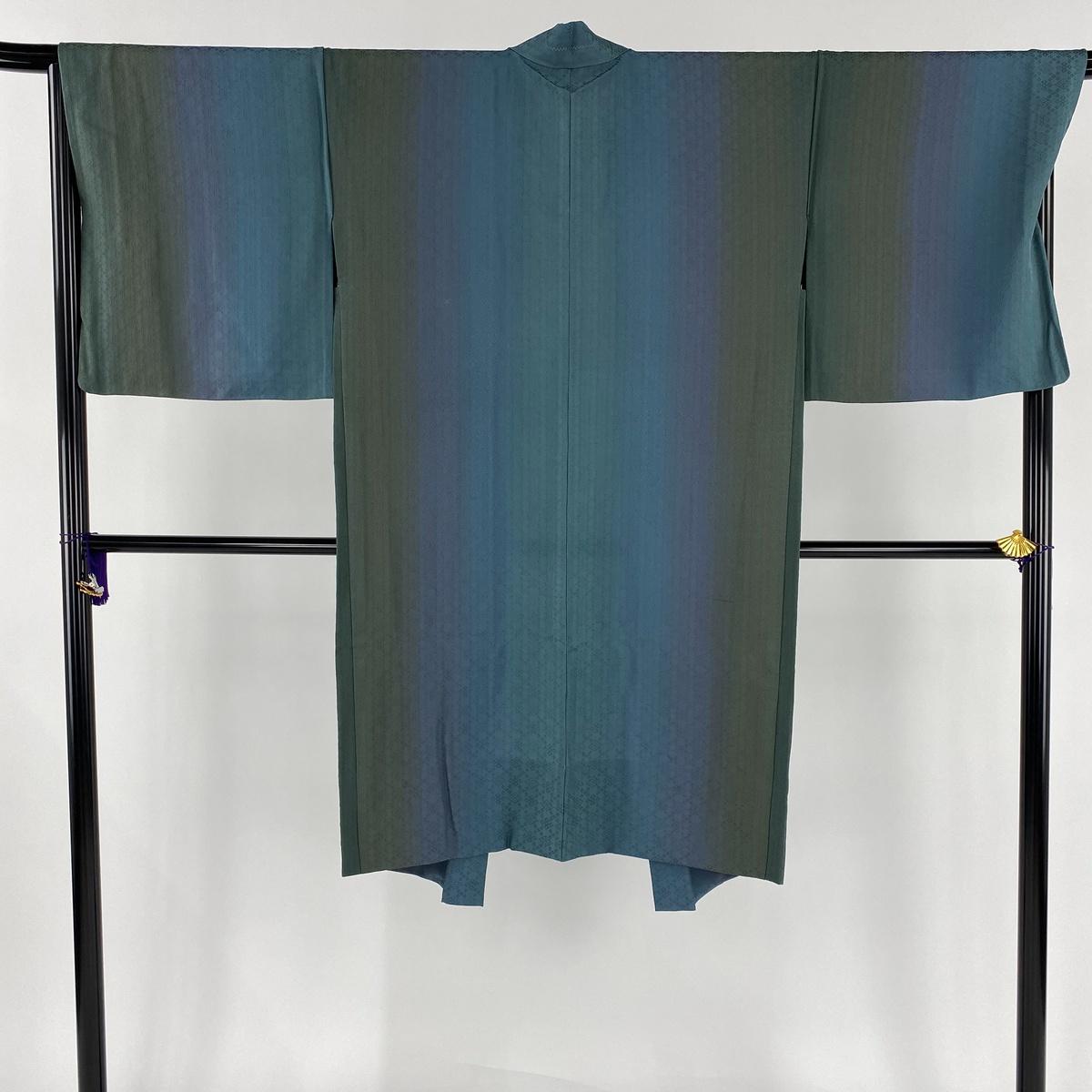 羽織 美品 逸品 羽織紐付き 縦ぼかし 浮き織 青緑 身丈112cm 裄丈68cm L 正絹 【中古】