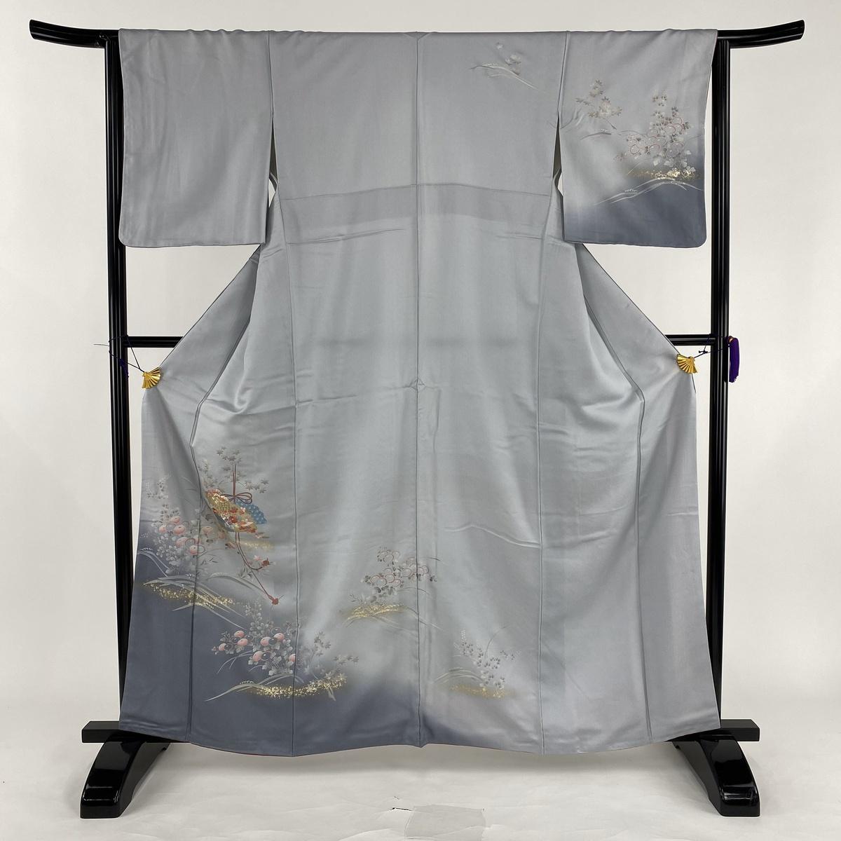訪問着 美品 秀品 御所車 万寿菊 金銀彩 刺繍 グレー 袷 身丈162cm 裄丈64cm M 正絹 【中古】