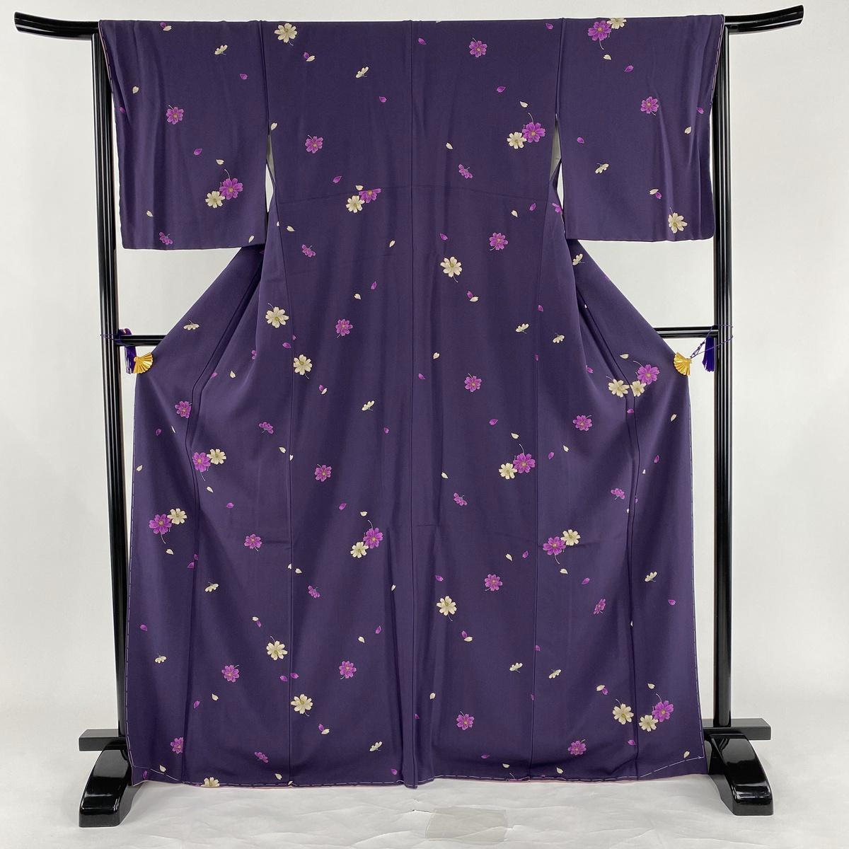 小紋 美品 秀品 コスモス 花びら 金彩 縮緬 紫 袷 身丈168.5cm 裄丈66cm M 正絹 【中古】