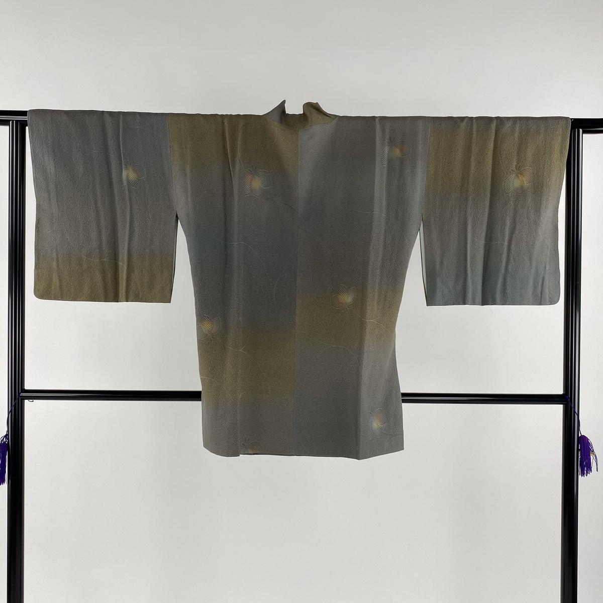 道中着 美品 秀品 和装コート 葉柄 ぼかし 灰緑 身丈80cm 裄丈65cm M 正絹 【中古】