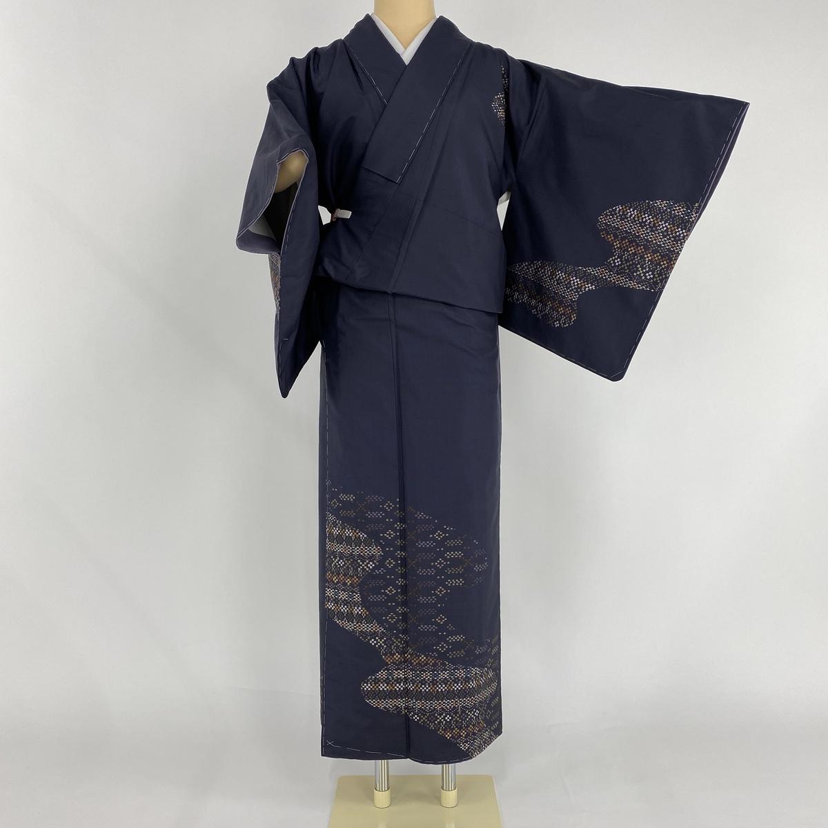 訪問着 美品 逸品 紬地 霞 幾何学模様 刺繍 濃紫 袷 身丈156cm 裄丈62cm S 正絹 【中古】
