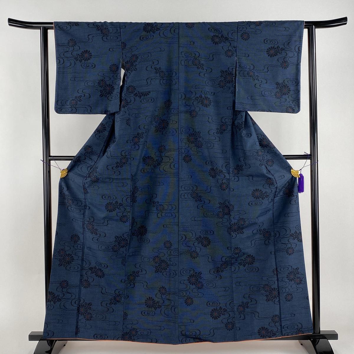 結城紬 美品 秀品 証紙あり 菊 観世水 藍色 袷 身丈161cm 裄丈61cm S 正絹 【中古】
