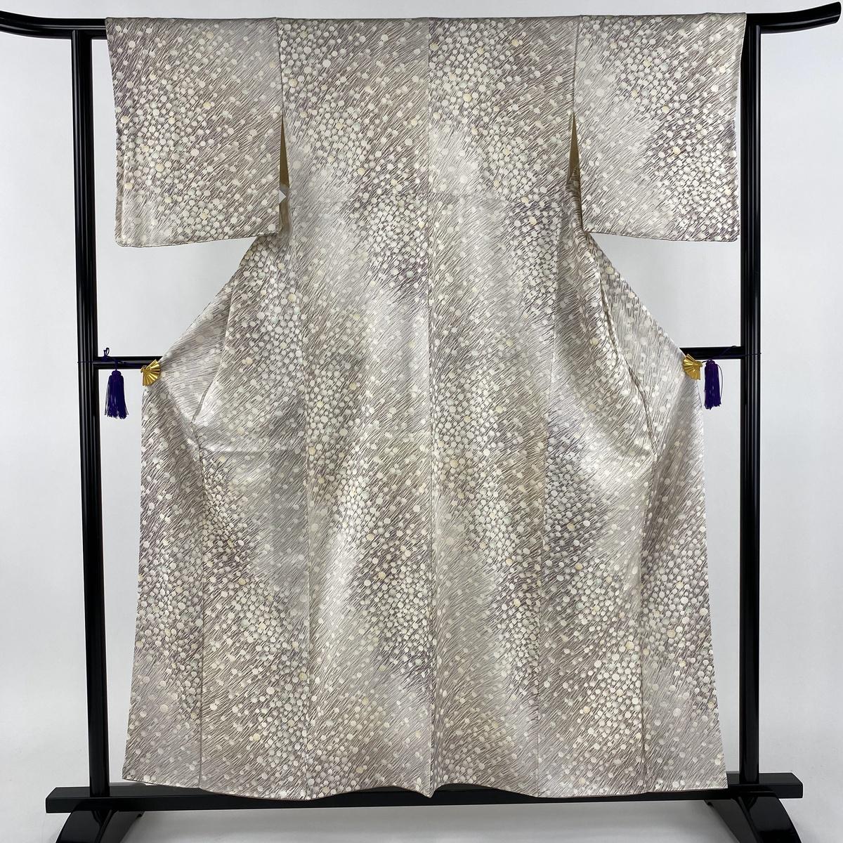 小紋 美品 秀品 草花 薄紫 袷 身丈157cm 裄丈62.5cm S 正絹 【中古】