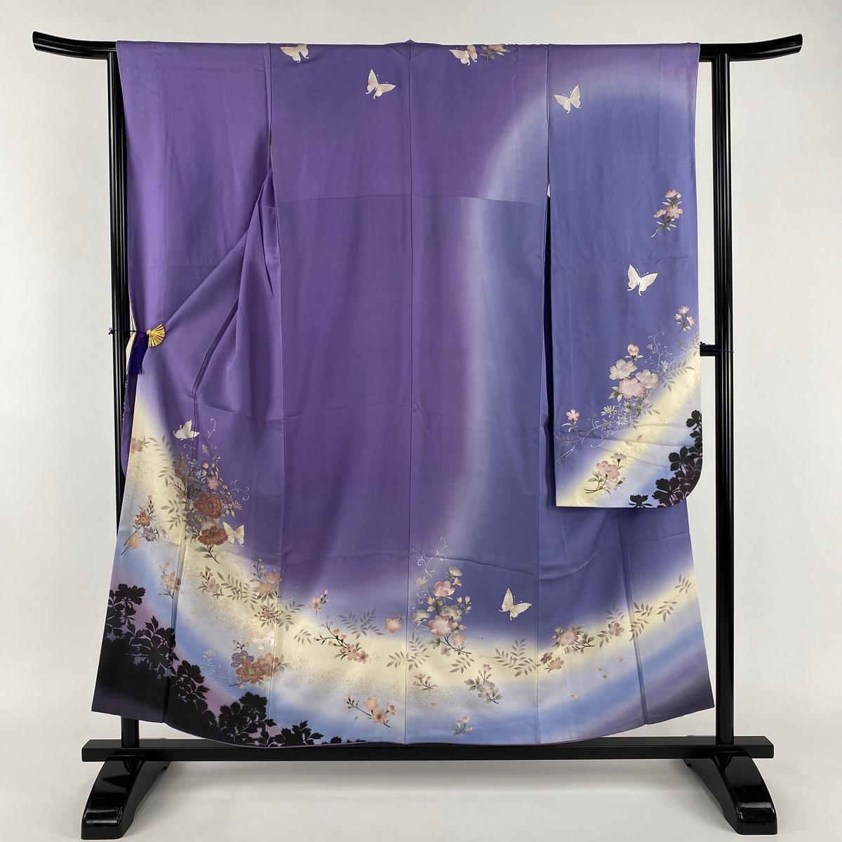 振袖 秀品 やまと誂製 草花 蝶 部分刺繍 ビーズ 紫 袷 身丈156cm 裄丈62.5cm S 正絹 【中古】