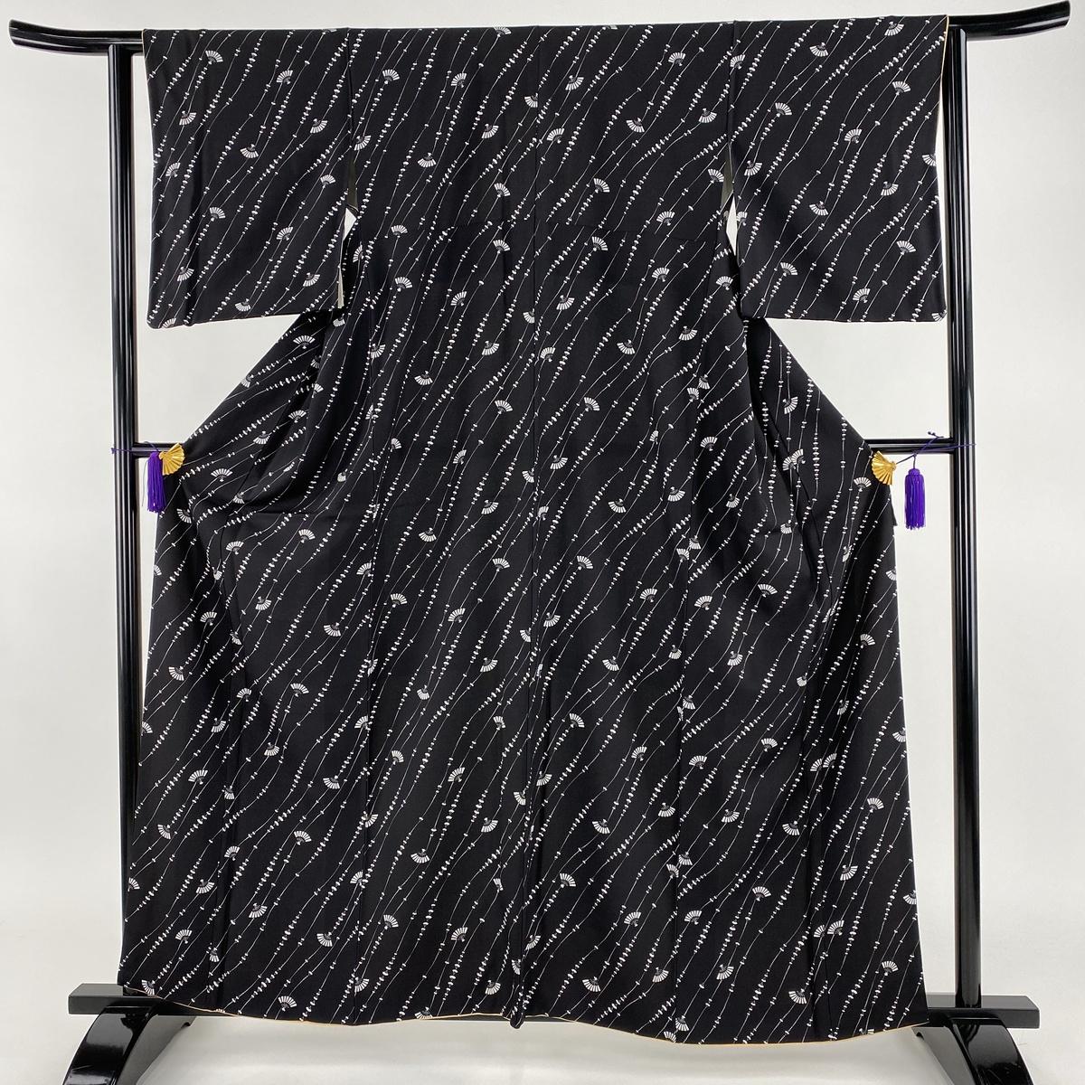 小紋 美品 秀品 扇子 黒 袷 身丈160.5cm 裄丈63cm S 正絹 【中古】