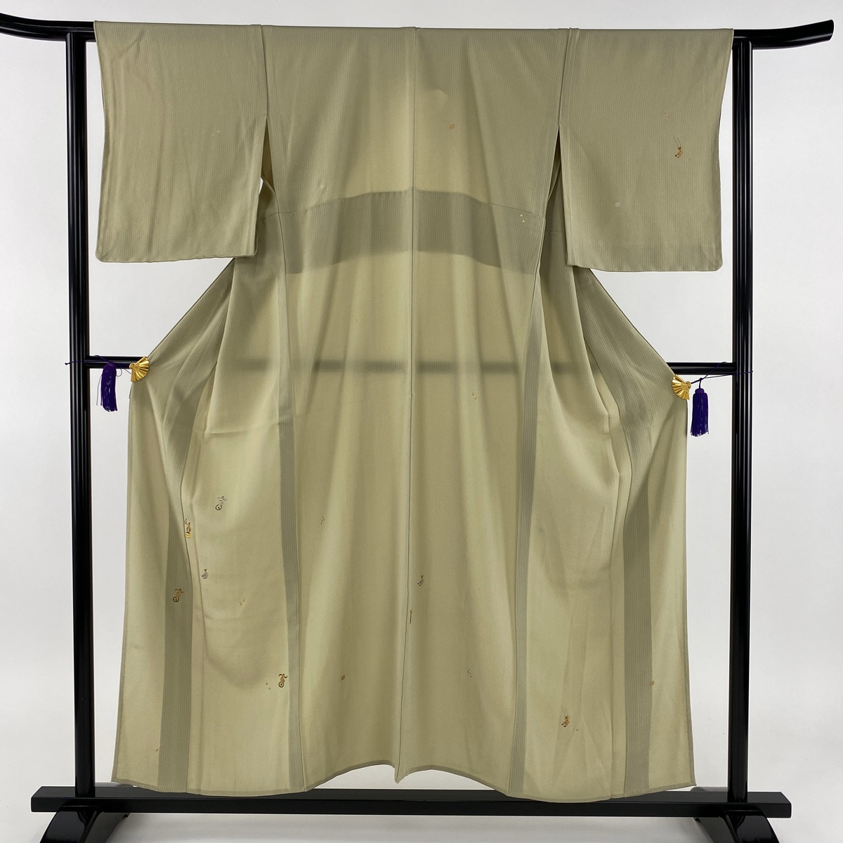 付下げ 美品 秀品 サーカス 縦縞 金銀彩 薄緑 単衣 身丈155cm 裄丈63cm S 正絹 【中古】