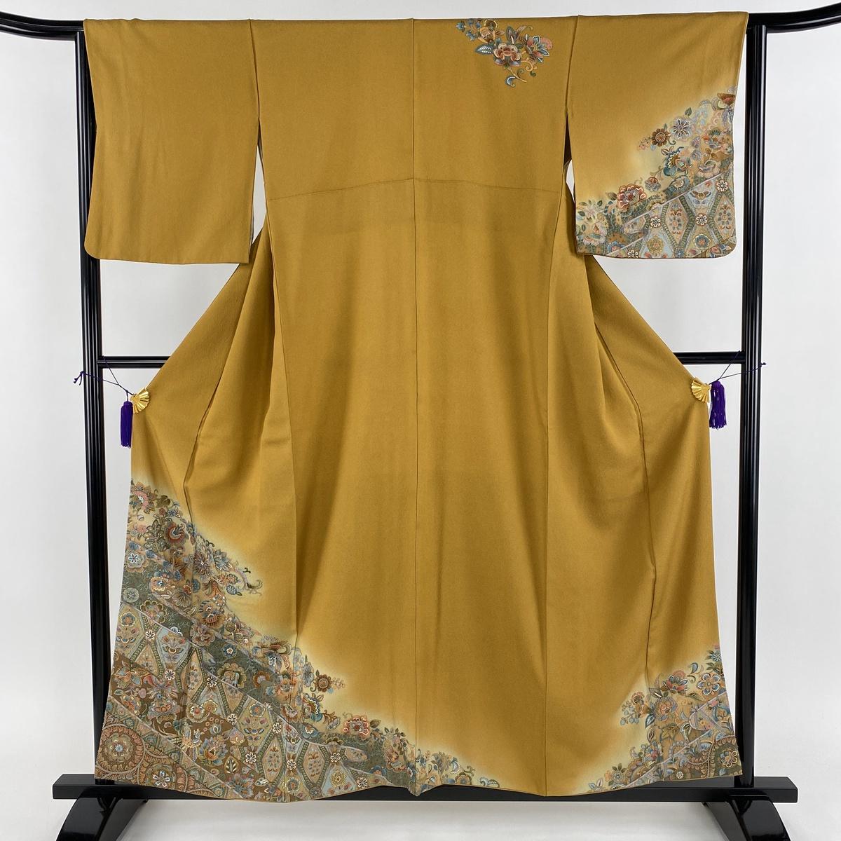 訪問着 美品 名品 更紗 鳥 相良刺繍 ぼかし 黄土色 袷 身丈155.5cm 裄丈64cm M 正絹 【中古】