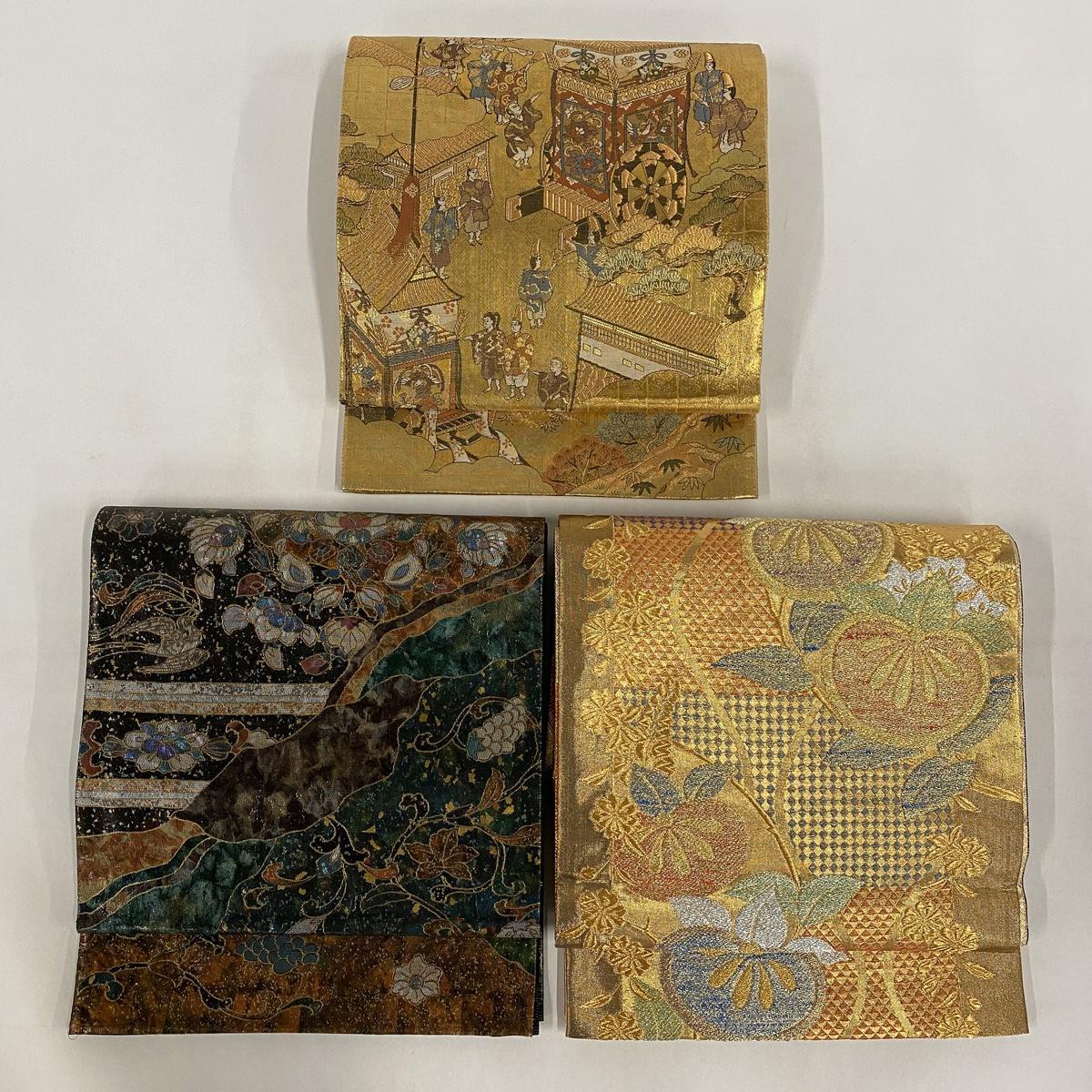 帯セット 秀品 袋帯3点セット (1)金色 (2)緑色 (3)金色 正絹 【中古】