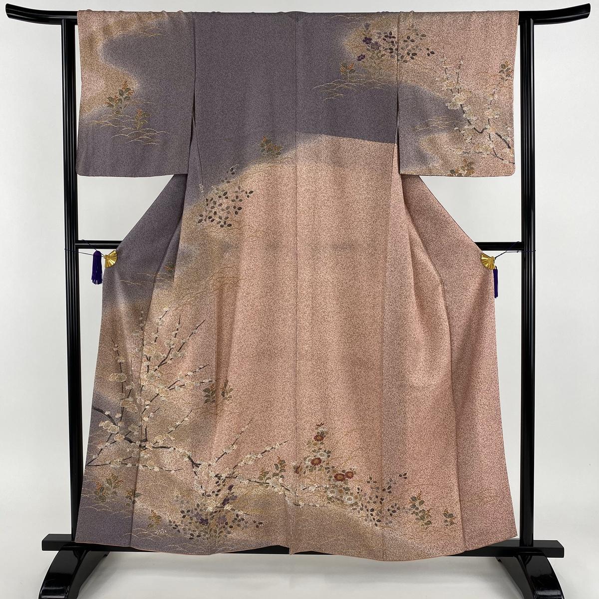 訪問着 美品 秀品 枝花 芝 金彩 たたき染め風 薄紫 袷 身丈158cm 裄丈63cm S 正絹 【中古】