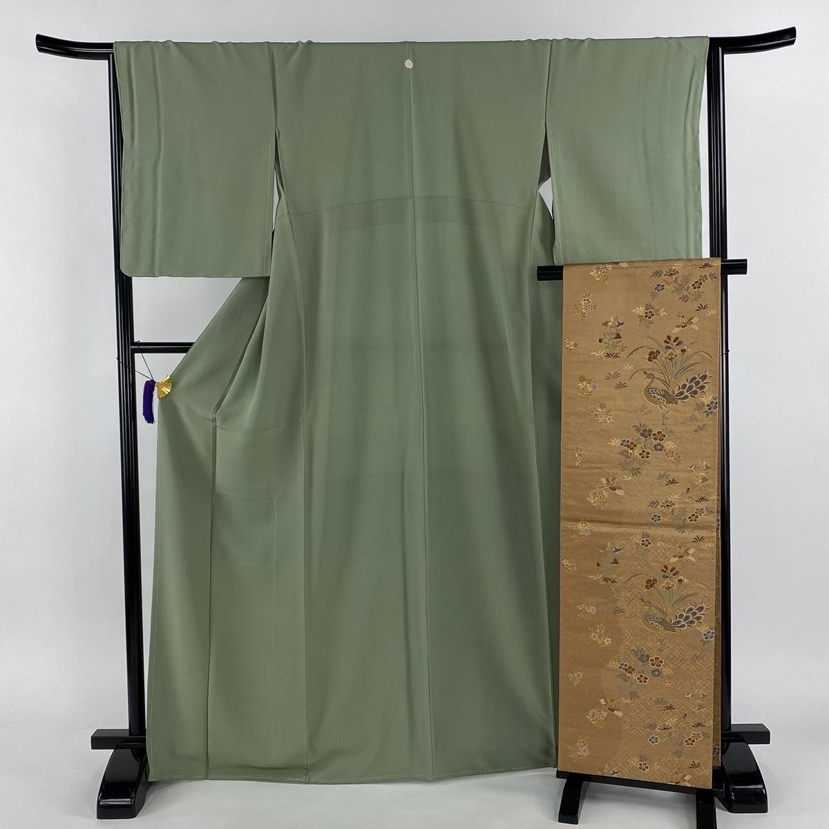 色無地 美品 秀品 袋帯セット 一つ紋 薄緑 袷 身丈167.5cm 裄丈65.5cm M 正絹 【中古】