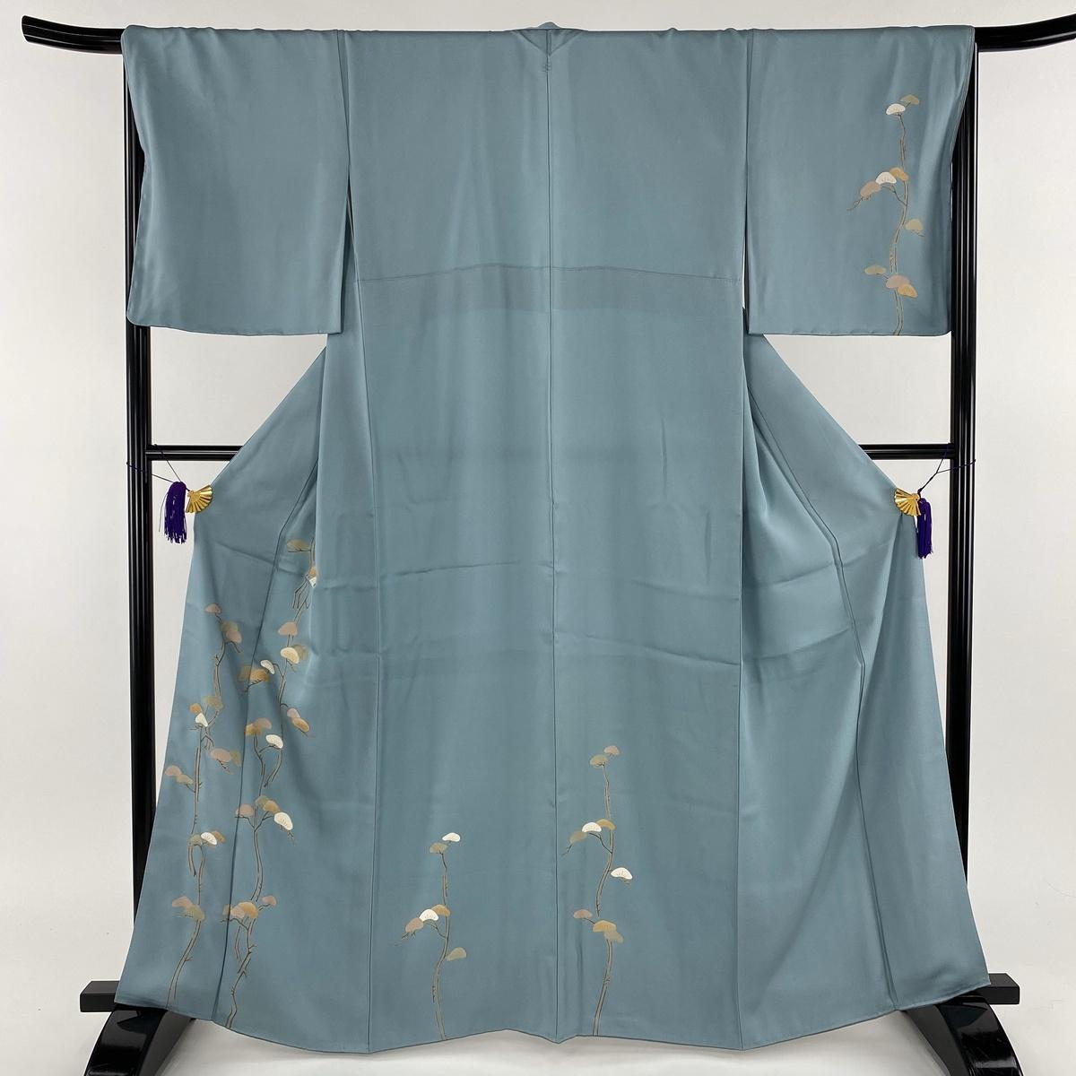 訪問着 美品 秀品 一つ紋 やまと 松 金彩 刺繍 青灰色 袷 身丈163.5cm 裄丈67.5cm M 正絹 【中古】