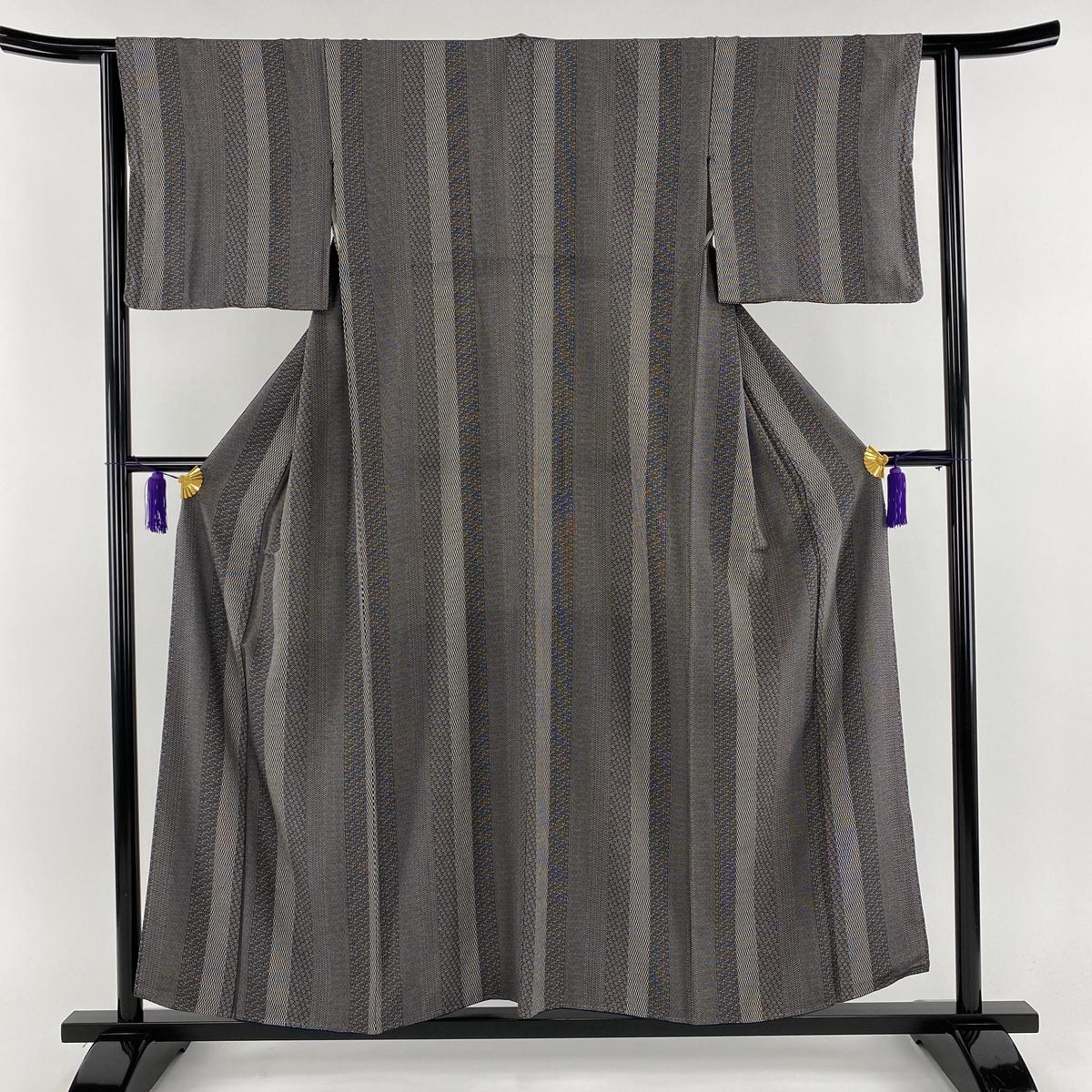 江戸小紋 美品 秀品 縦縞 寄せ柄 濃紫 袷 身丈156.5cm 裄丈63.5cm S 正絹 【中古】