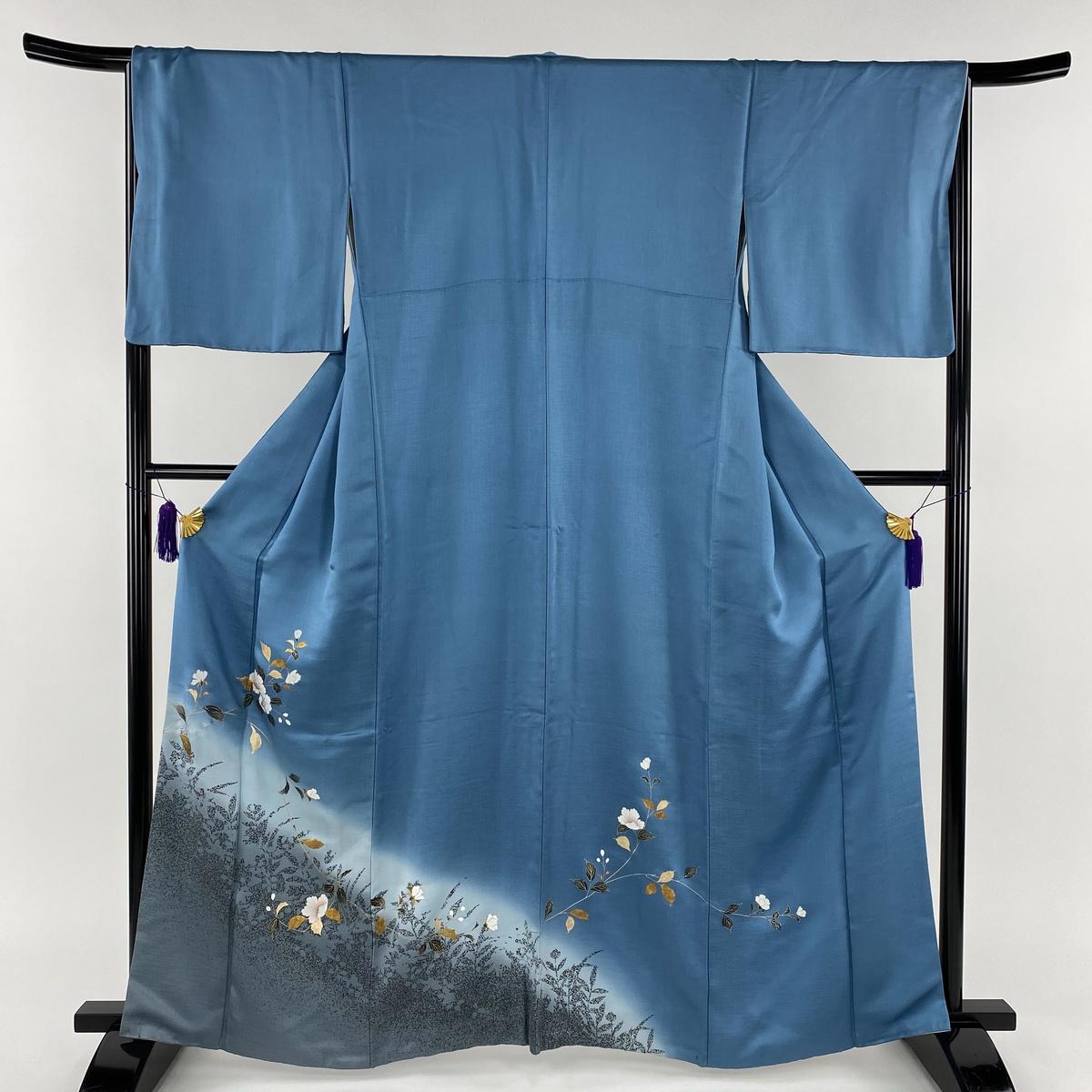 訪問着 秀品 枝花 シルエット 金銀彩 染め分け 藍色 袷 身丈162cm 裄丈68cm L 正絹 【中古】