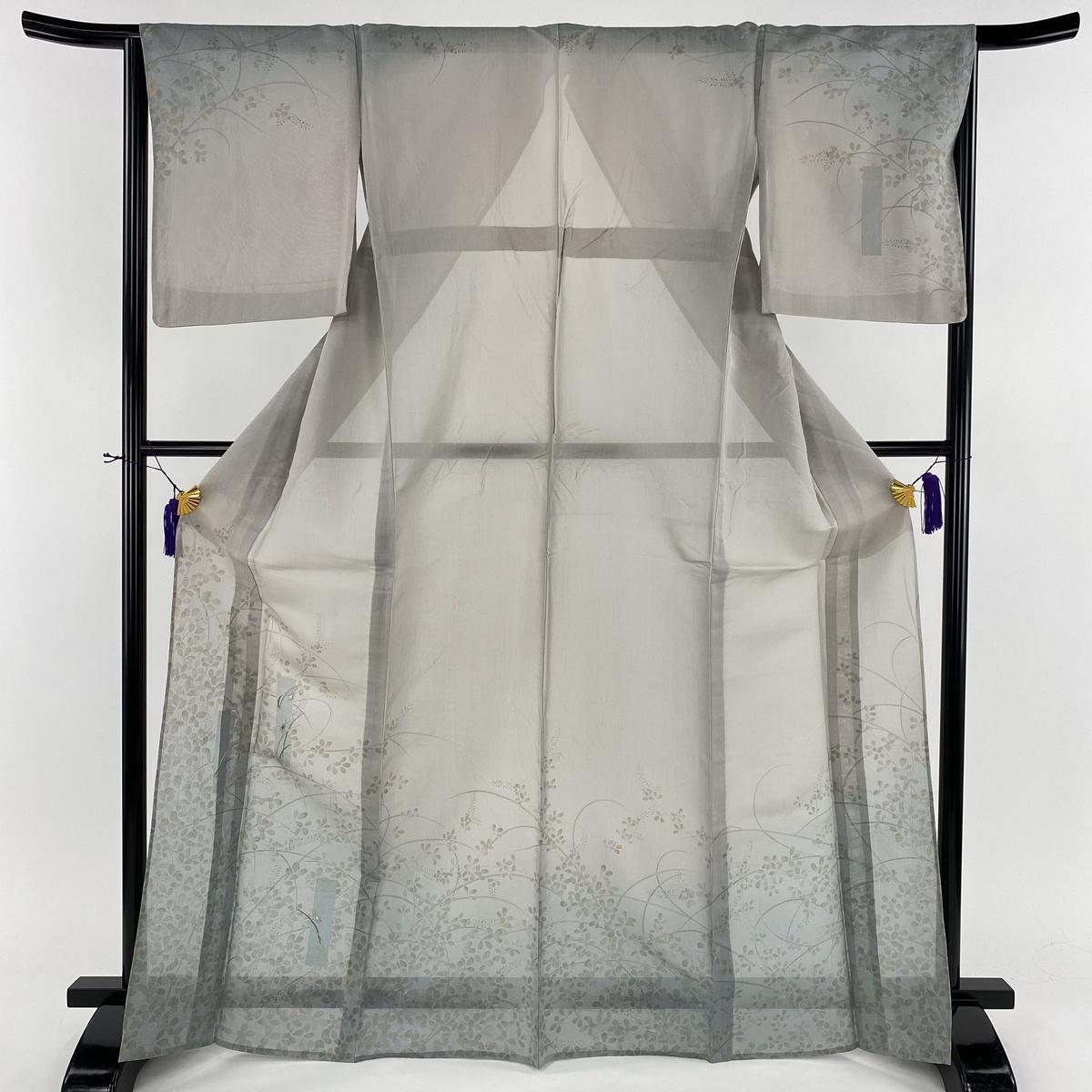 訪問着 美品 名品 萩 鈴虫 銀糸 刺繍 灰色 薄物 身丈168.5cm 裄丈65cm M 正絹 【中古】