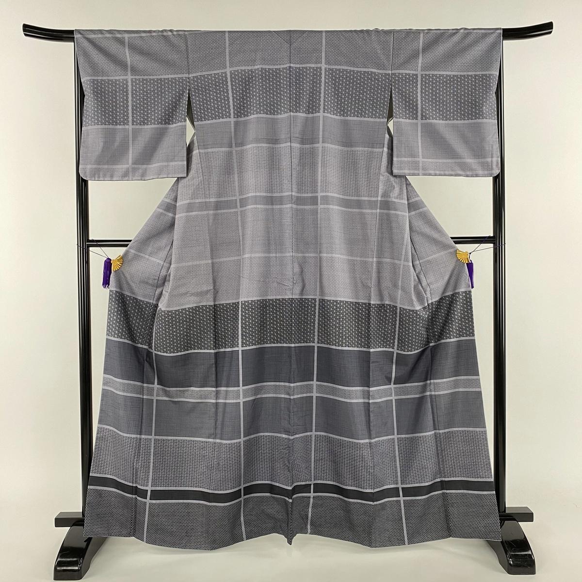 訪問着 美品 名品 紬地 縞模様 麻の葉 薄紫 袷 身丈163.5cm 裄丈66cm M 正絹 【中古】