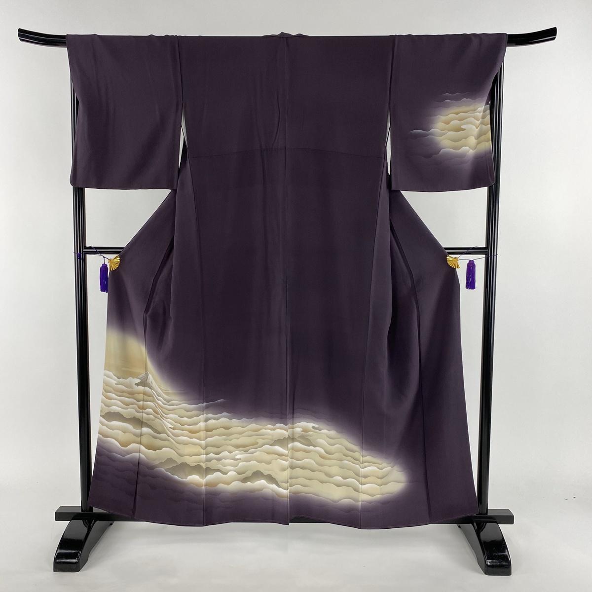 訪問着 美品 名品 富士山 雲海 金彩 紫 袷 身丈158cm 裄丈68.5cm L 正絹 【中古】