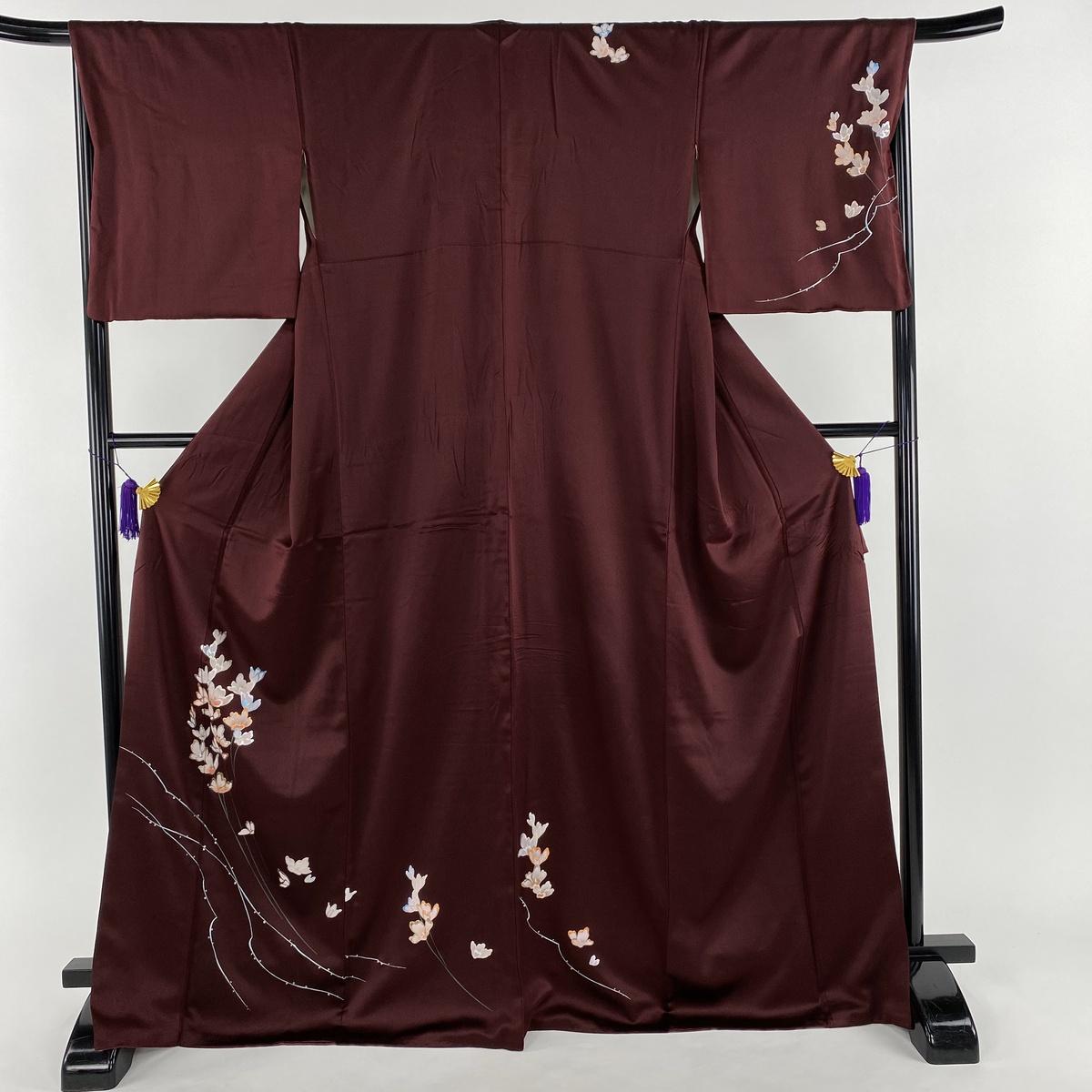 付下げ 美品 秀品 草花 金銀彩 赤紫 袷 身丈170.5cm 裄丈64.5cm M 正絹 【中古】
