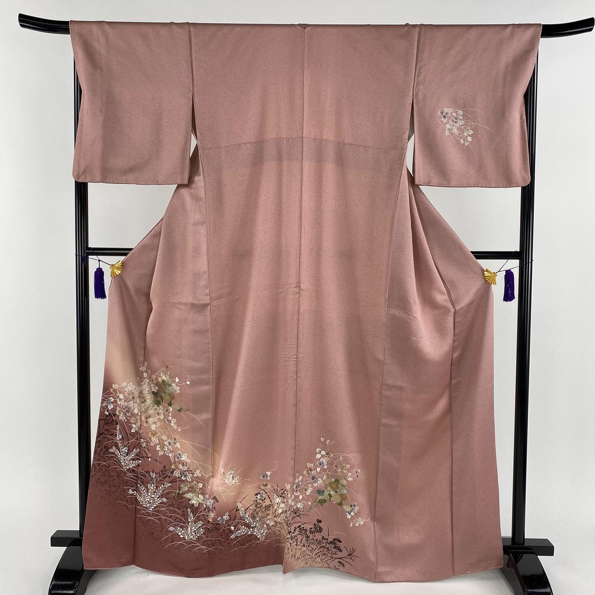 訪問着 秀品 花扇 草花 金銀彩 ピンク 袷 身丈167cm 裄丈67.5cm L 正絹 【中古】