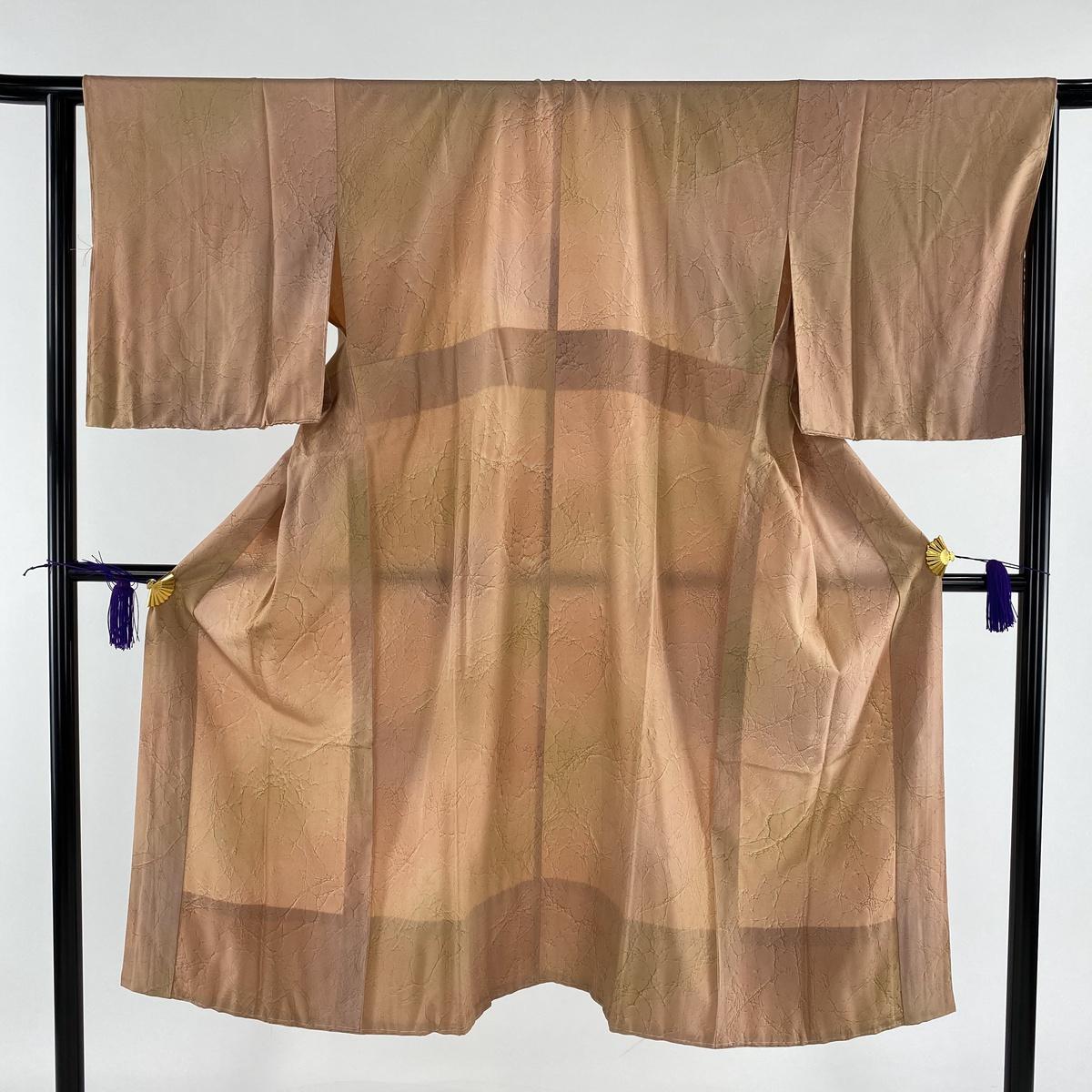 長襦袢 美品 秀品 琉球藍泥染 幾何学模様 薄オレンジ 身丈131.5cm 裄丈61cm S 正絹 【中古】