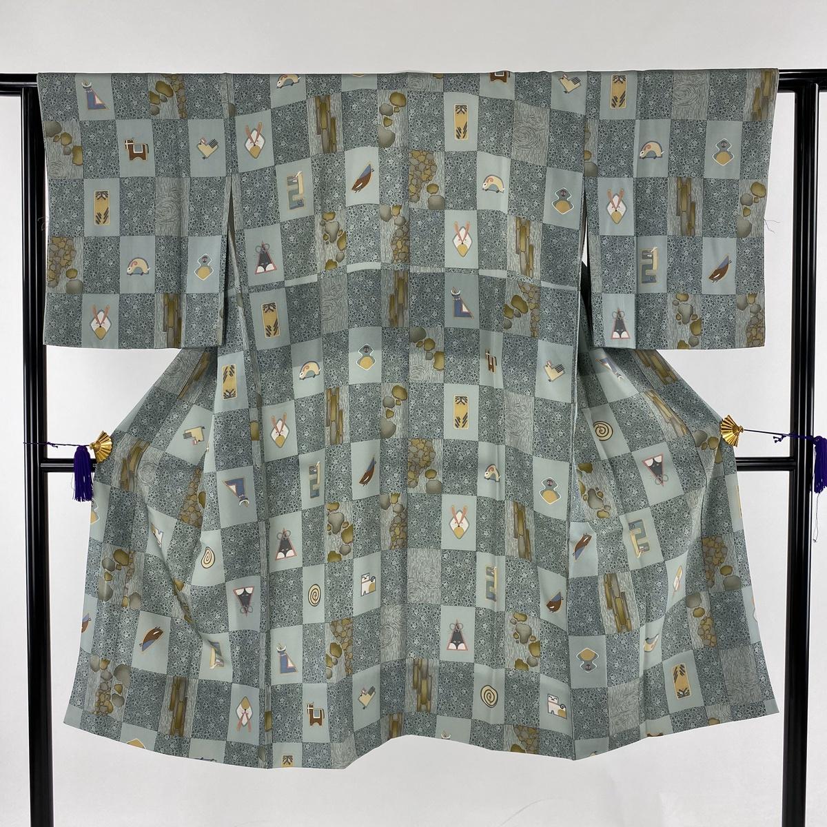 長襦袢 美品 名品 ほていや 干支 市松 薄緑 身丈119cm 裄丈60.5cm S 正絹 【中古】